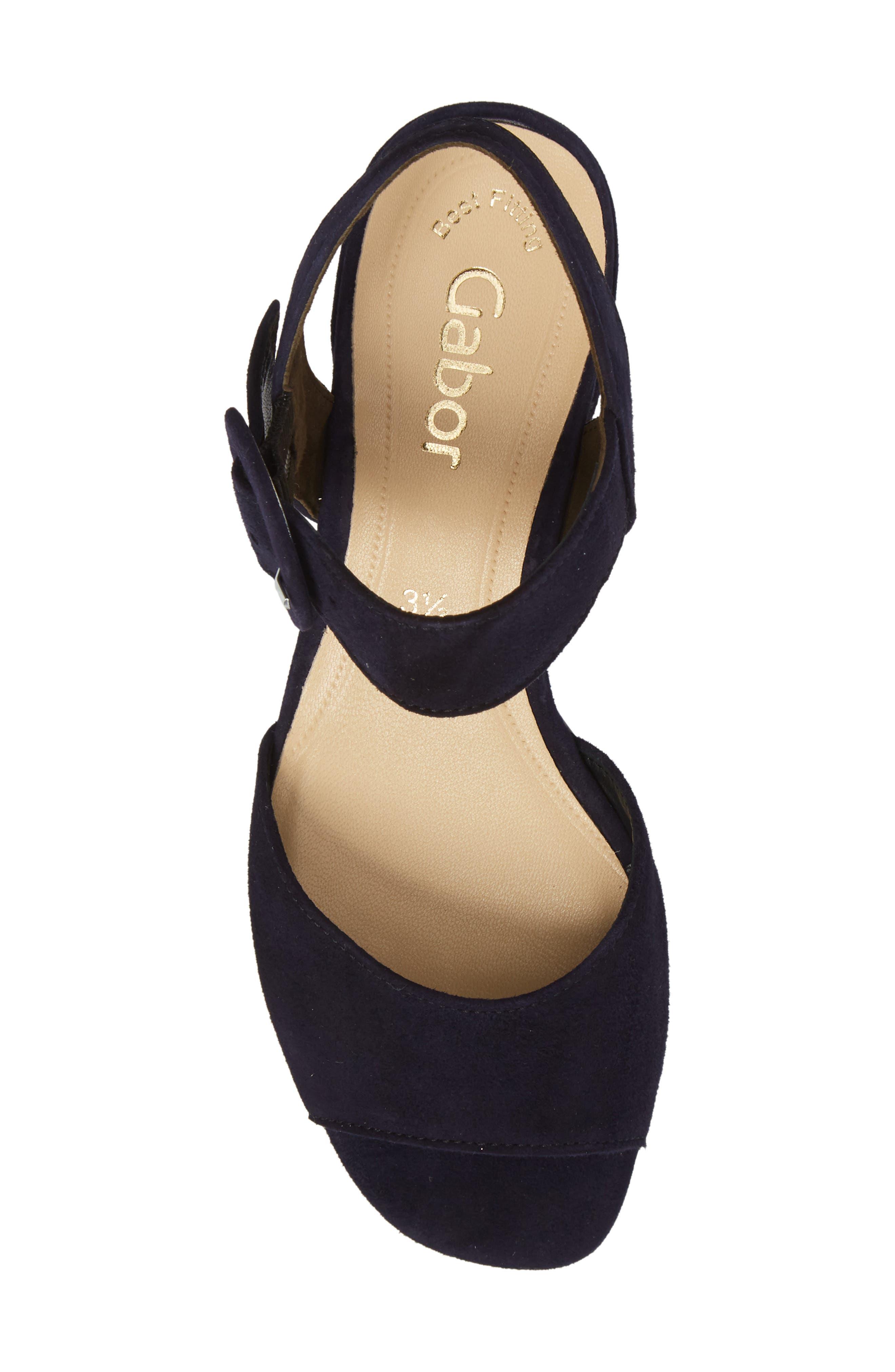 Block Heel Sandal,                             Alternate thumbnail 5, color,                             Navy Suede