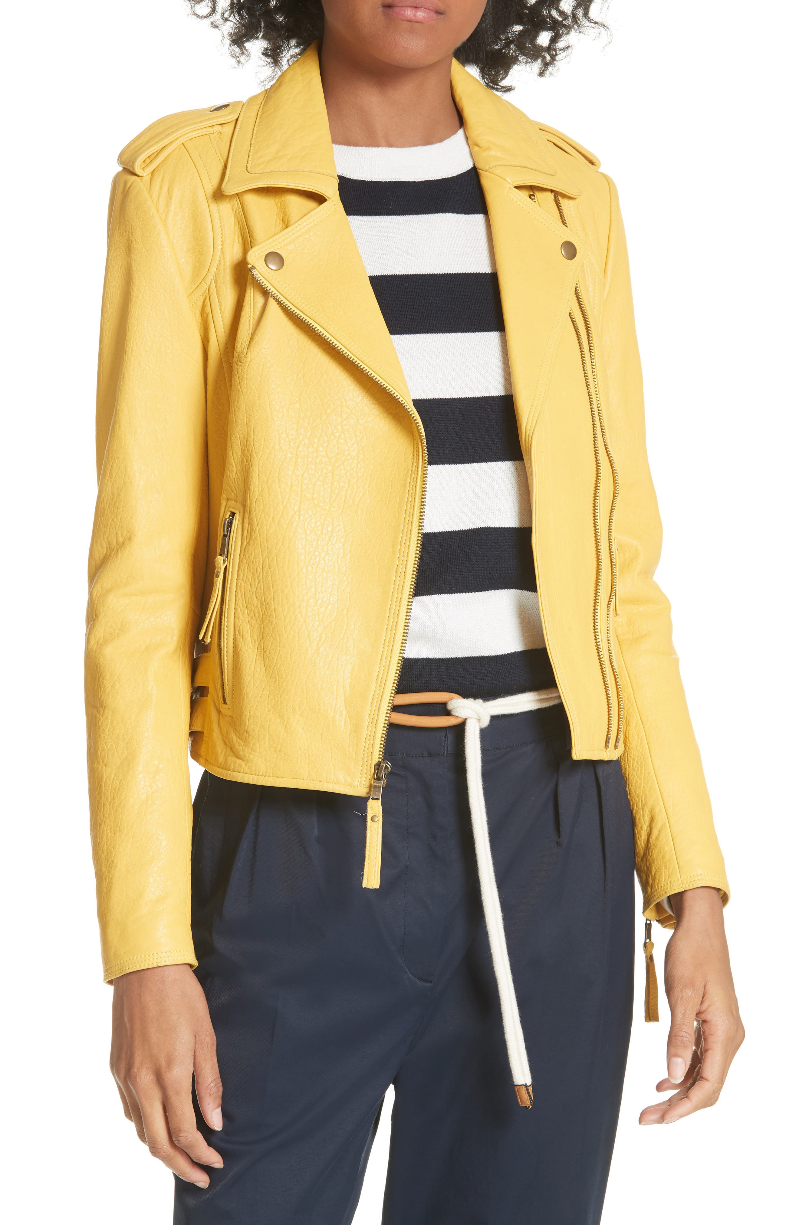Joie Leolani Textured Leather Moto Jacket