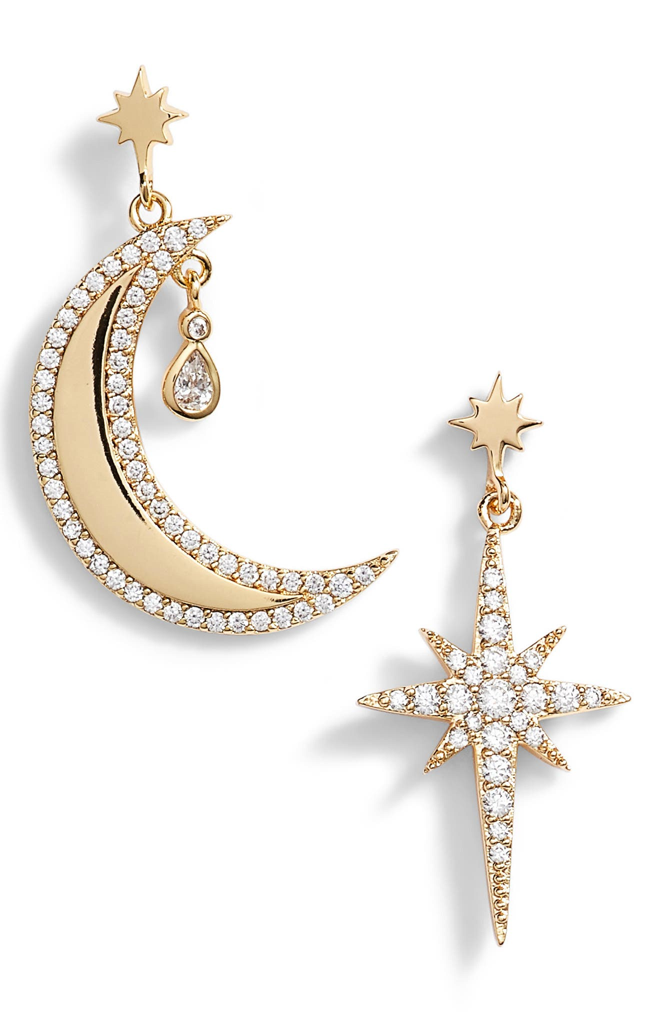 x We Wore What Moon & Star Mismatched Drop Earrings,                             Main thumbnail 1, color,                             Gold