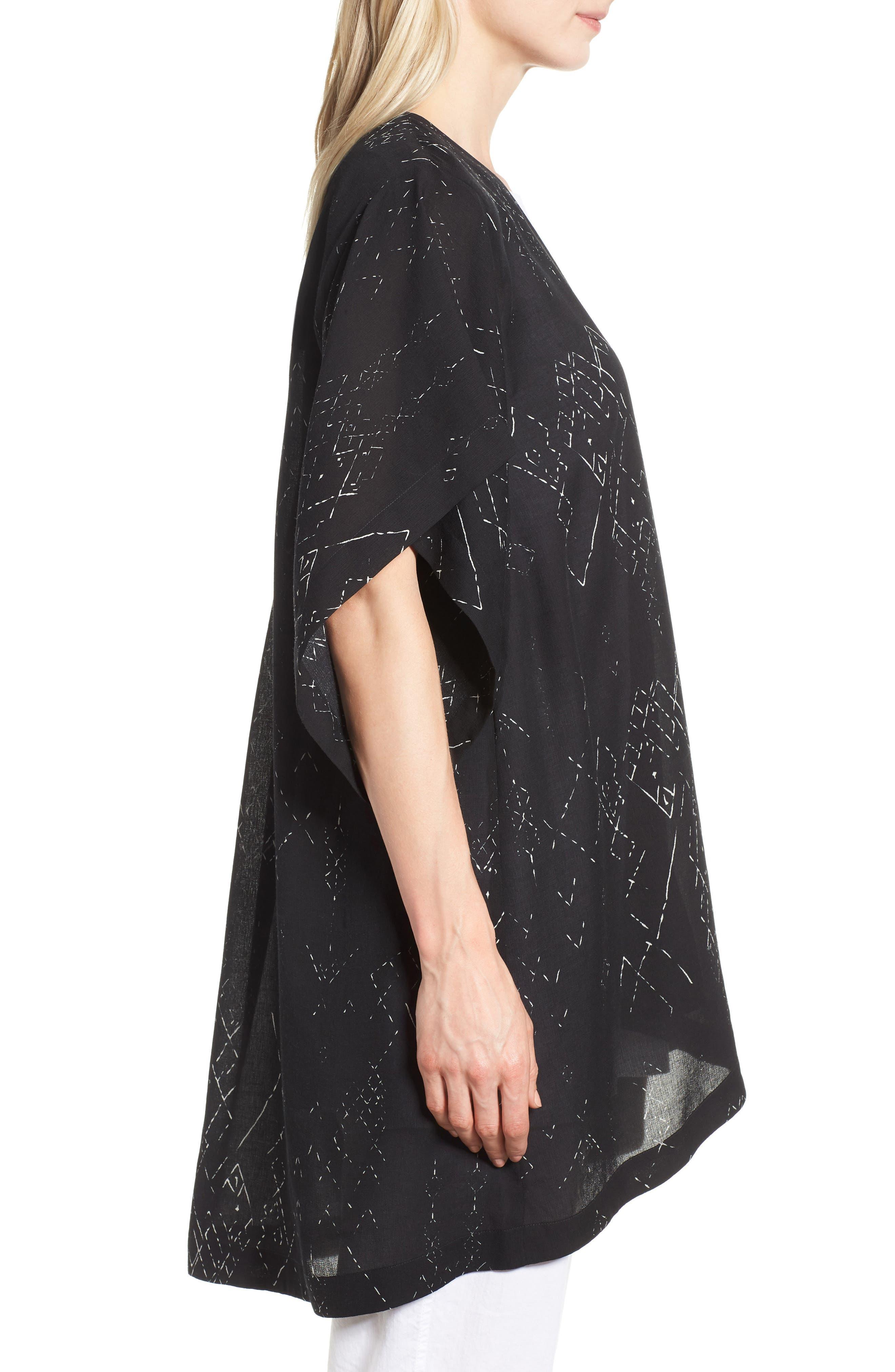 Long Silk Blend Kimono Jacket,                             Alternate thumbnail 3, color,                             Black