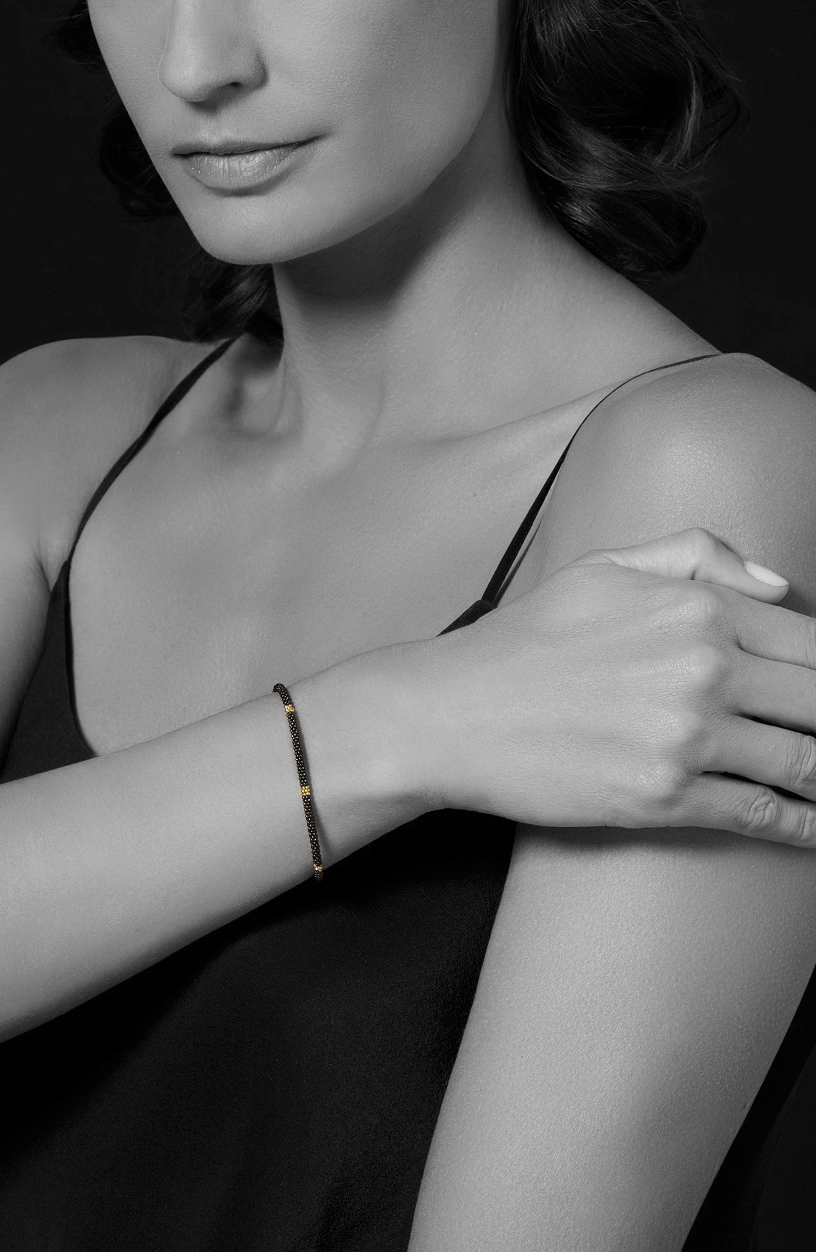 Gold & Black Caviar Rope Bracelet,                             Alternate thumbnail 2, color,                             Gold