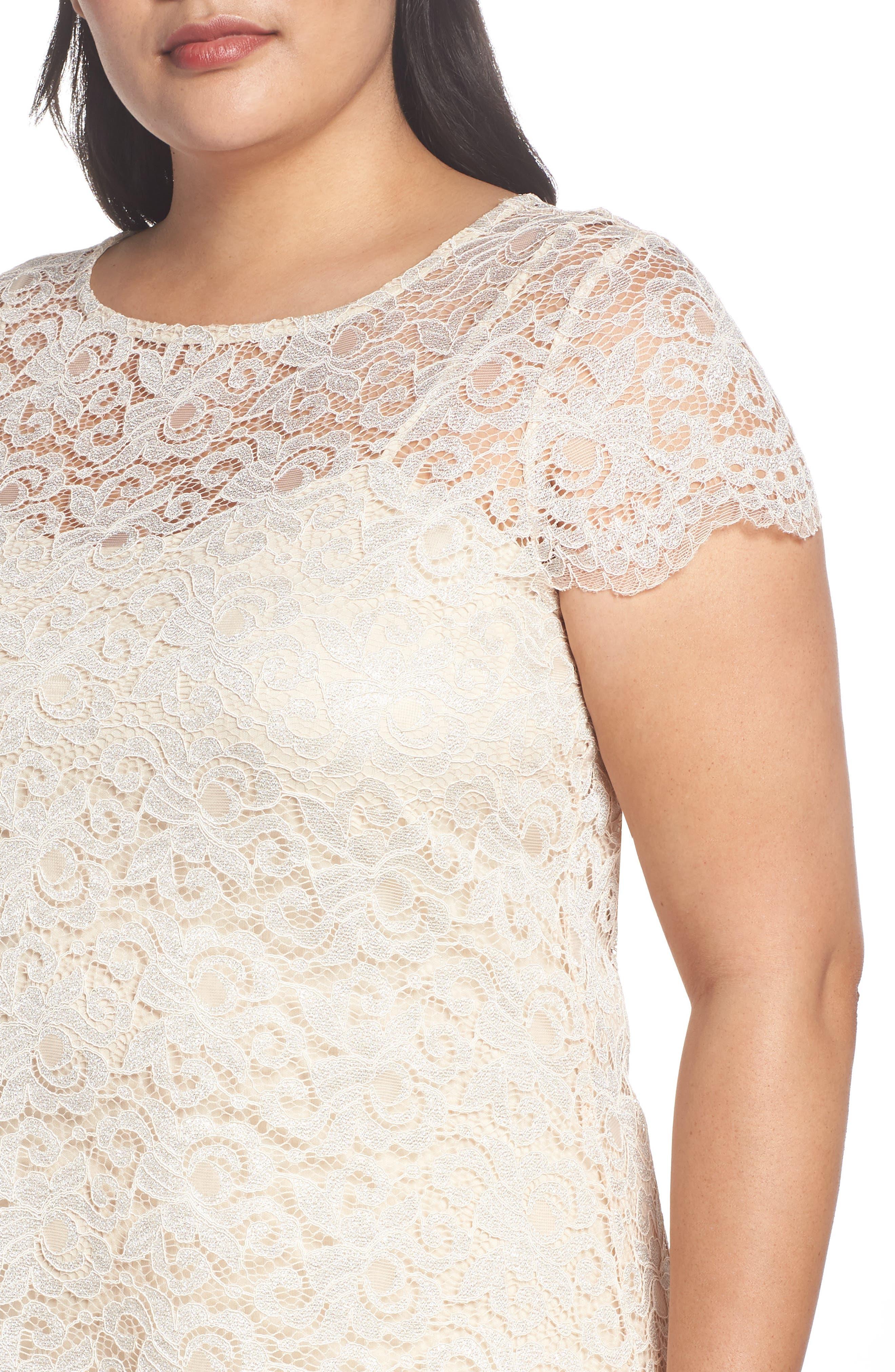 Lace A-Line Dress,                             Alternate thumbnail 4, color,                             Taupe