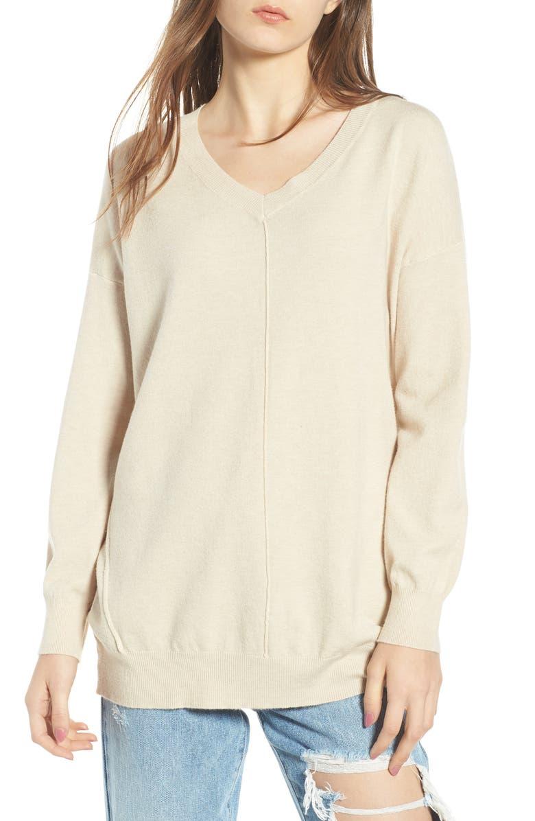Exposed Seam Sweater,                         Main,                         color, Oatmeal