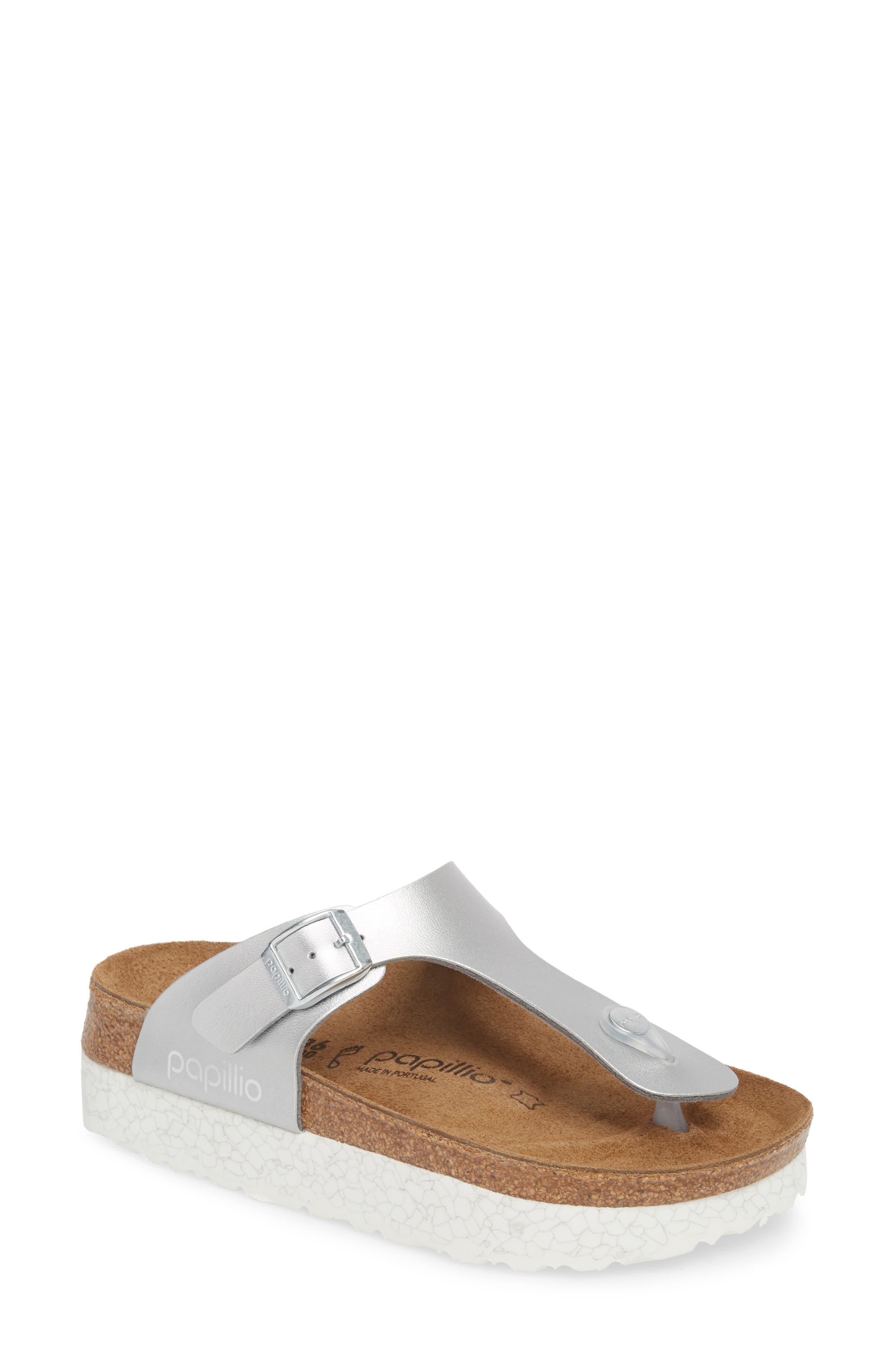Papillio by Birkenstock 'Gizeh' Birko-Flor Platform Flip Flop Sandal,                             Main thumbnail 1, color,                             Mono Marble Silver Leather