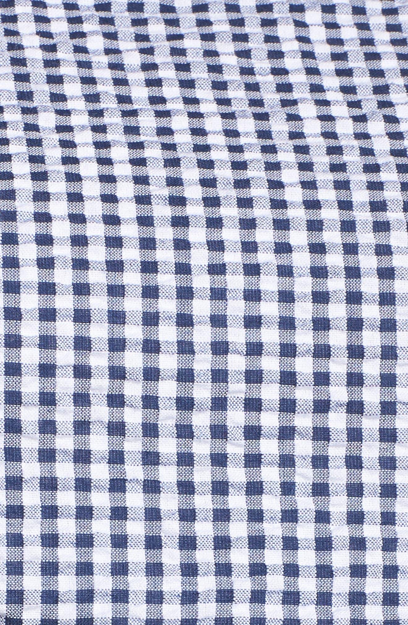 Belted Gingham Seersucker Fit & Flare Dress,                             Alternate thumbnail 6, color,                             Navy/ Ivory