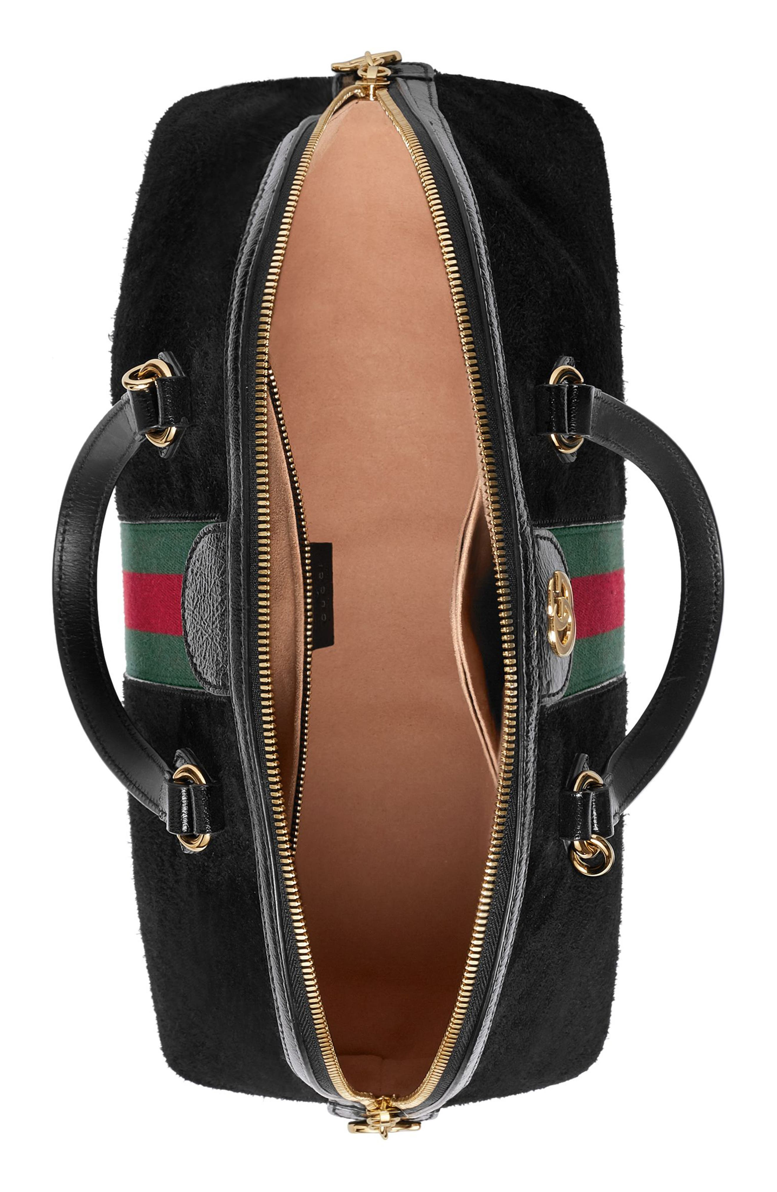 Ophidia Suede Dome Satchel,                             Alternate thumbnail 3, color,                             Nero/ Nero/ Vert Red Vert