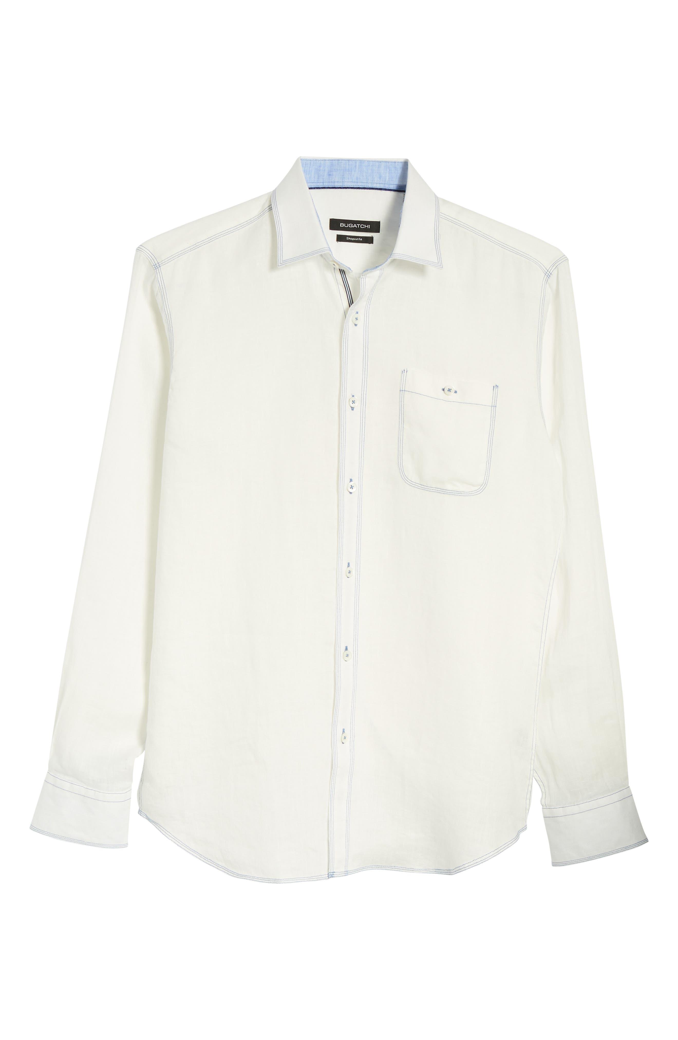 Shaped Fit Linen Sport Shirt,                             Alternate thumbnail 6, color,                             White