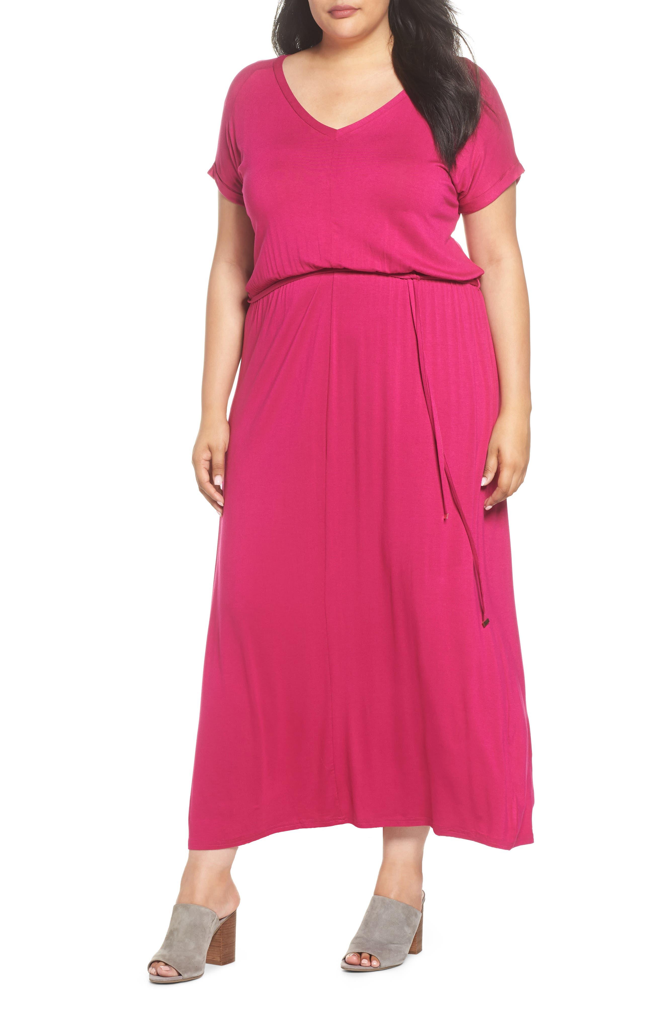 Jersey Maxi Dress,                         Main,                         color, Pink