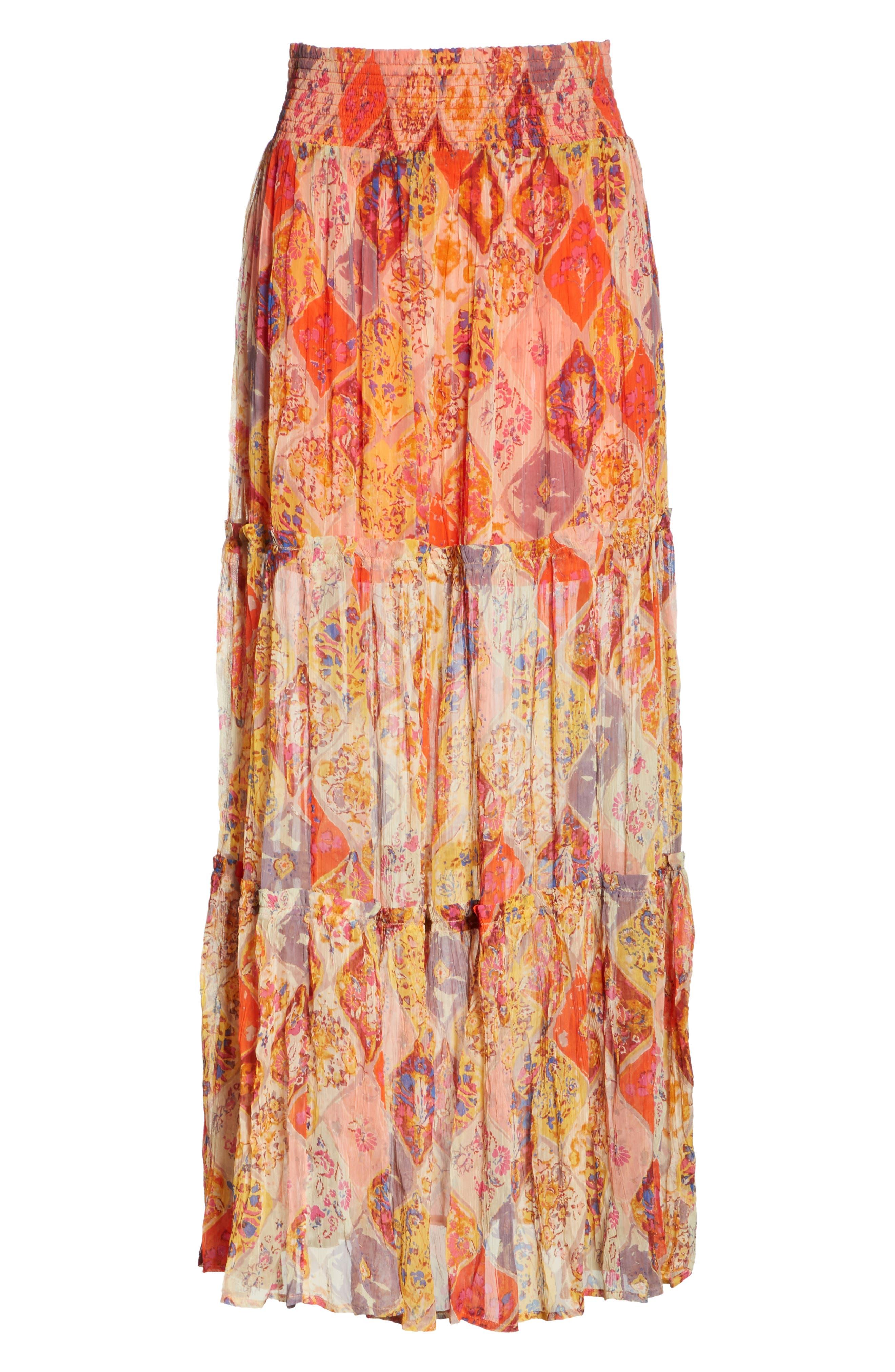 The Great Escape Print Maxi Skirt,                             Alternate thumbnail 6, color,                             Orange
