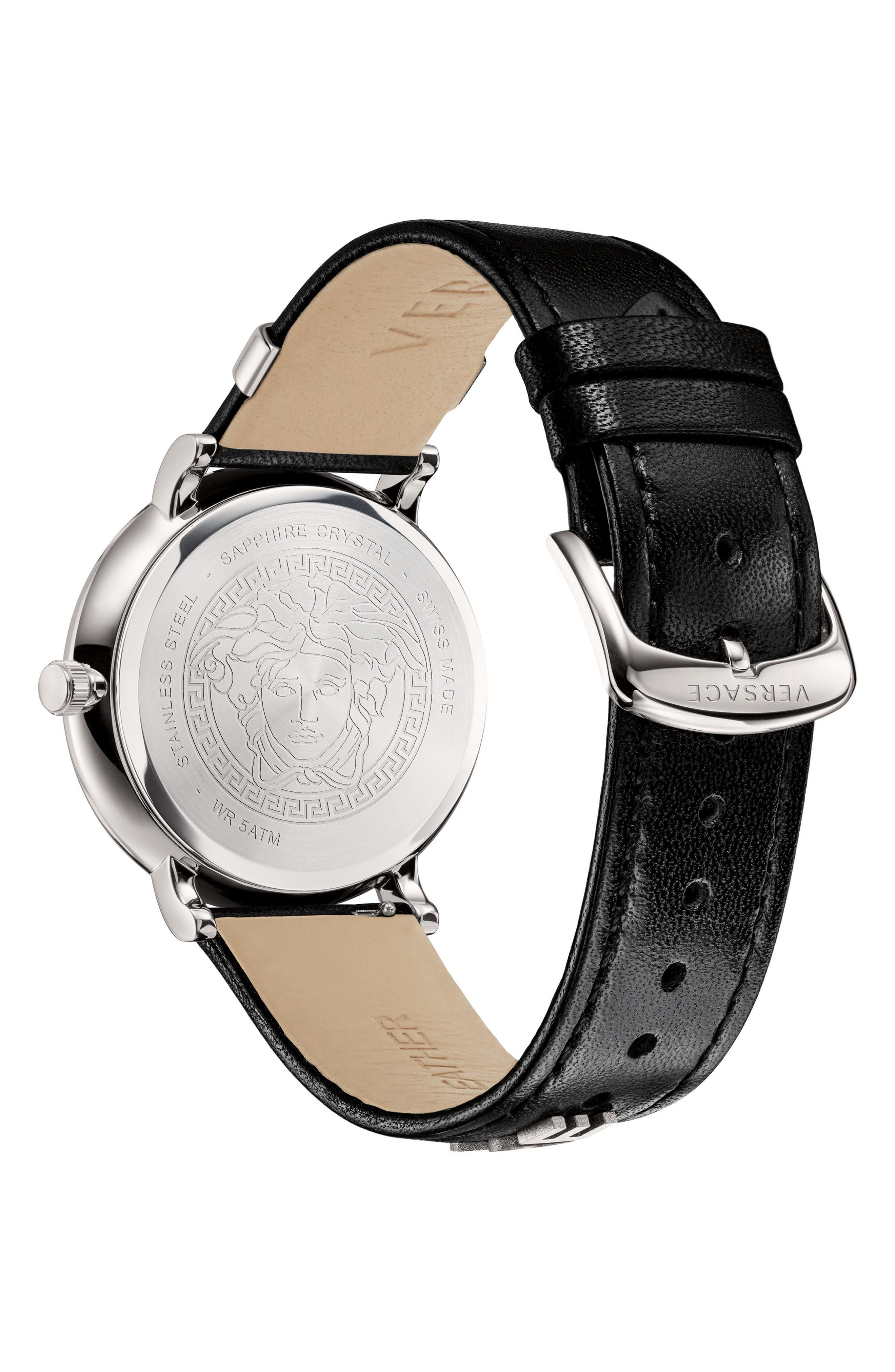 Manifesto Leather Strap Watch, 42mm,                             Alternate thumbnail 3, color,                             Black/ Silver