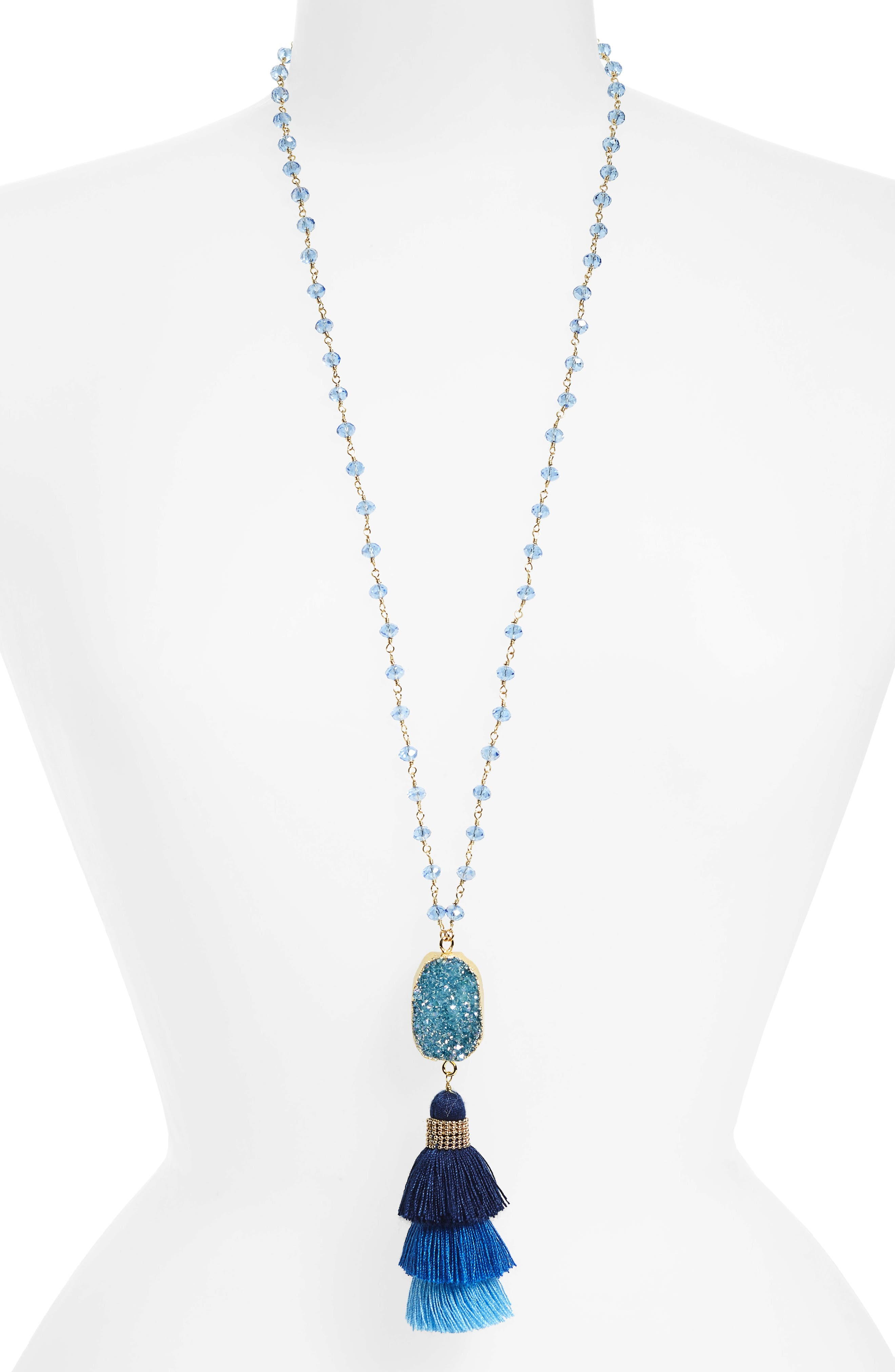 Drusy & Stacked Tassel Pendant Necklace,                         Main,                         color, Blue