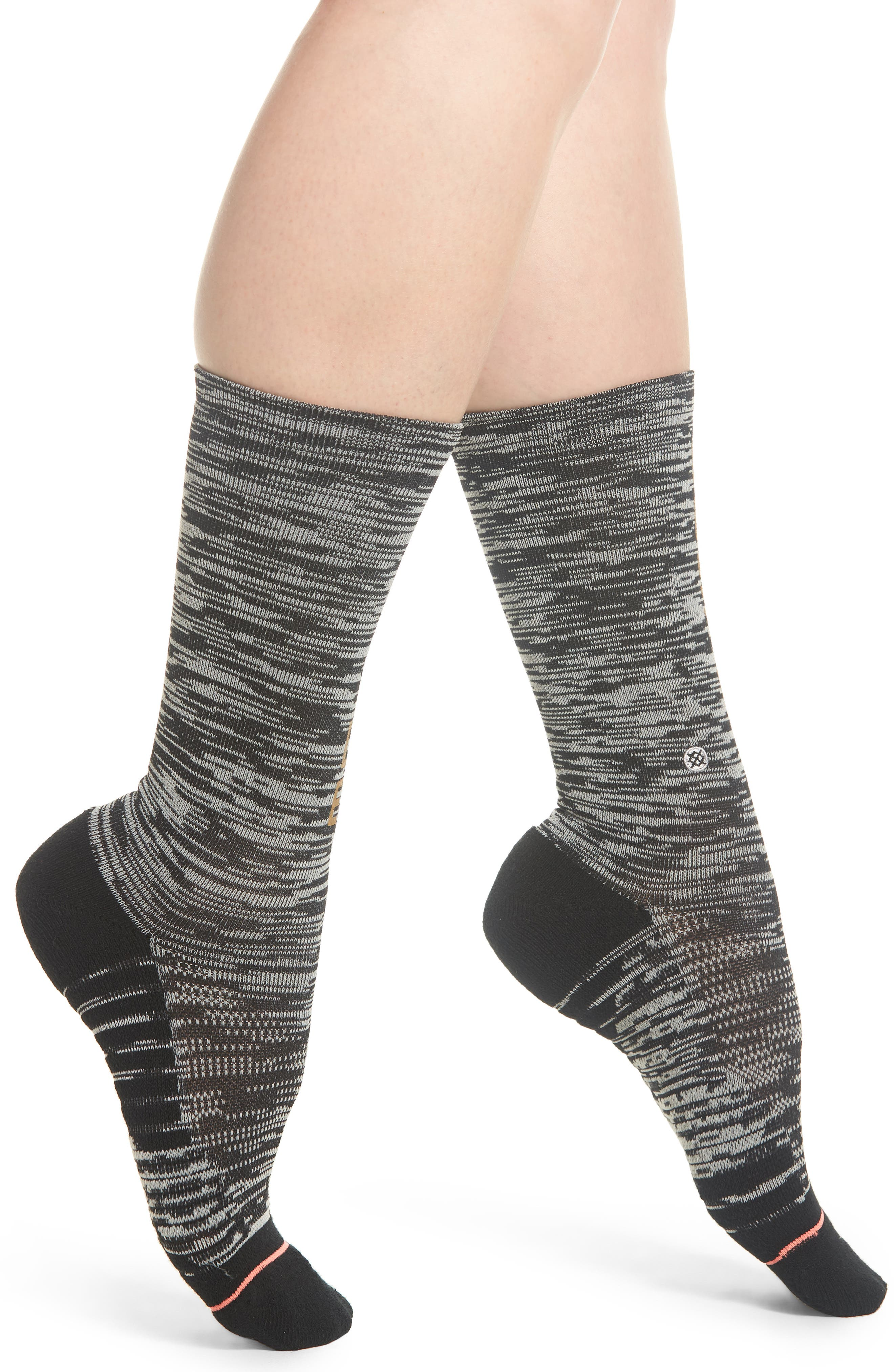 Hustle Harder Crew Socks,                             Main thumbnail 1, color,                             Black
