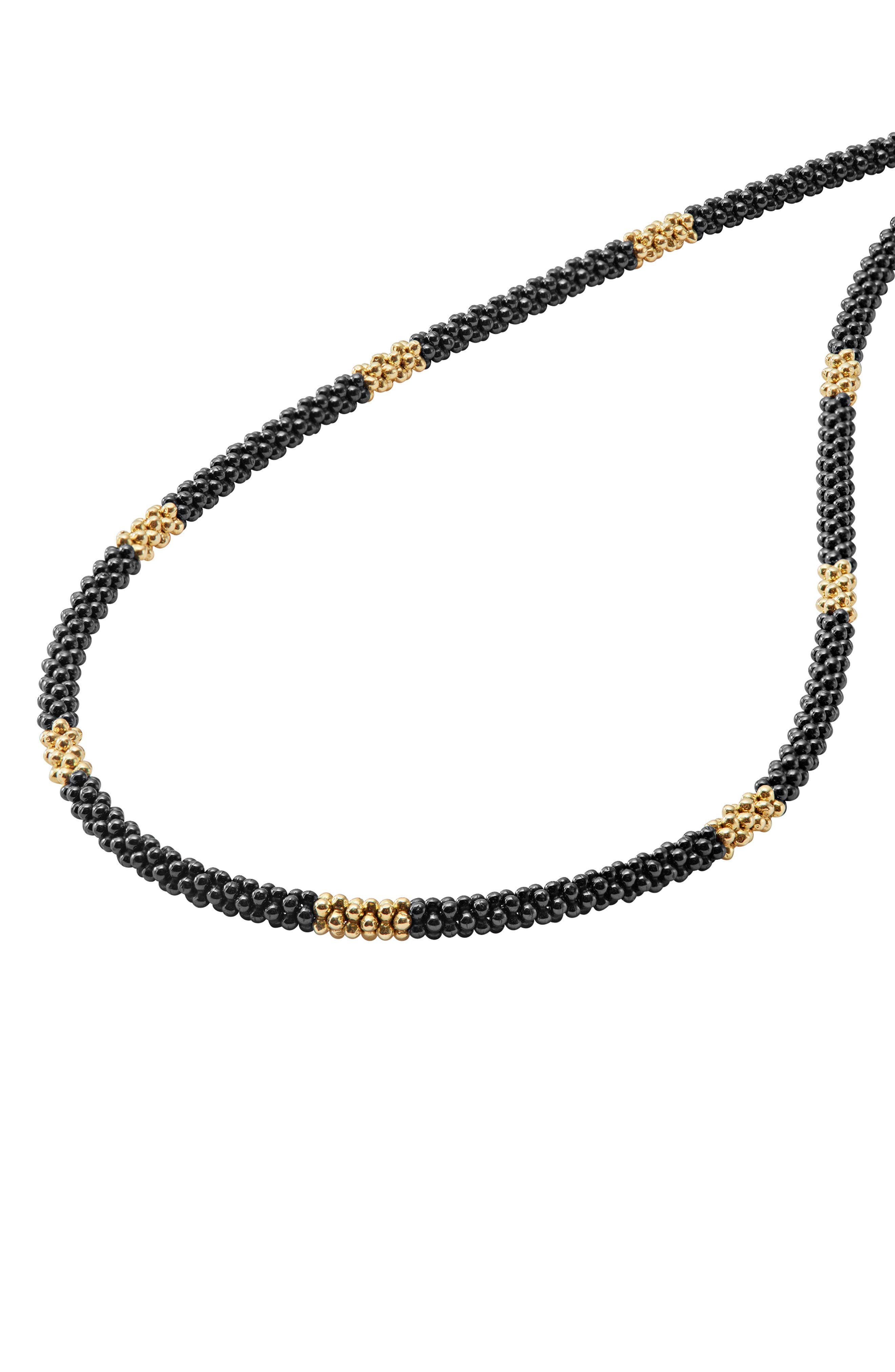 Gold & Black Caviar Rope Necklace,                             Alternate thumbnail 3, color,                             Gold