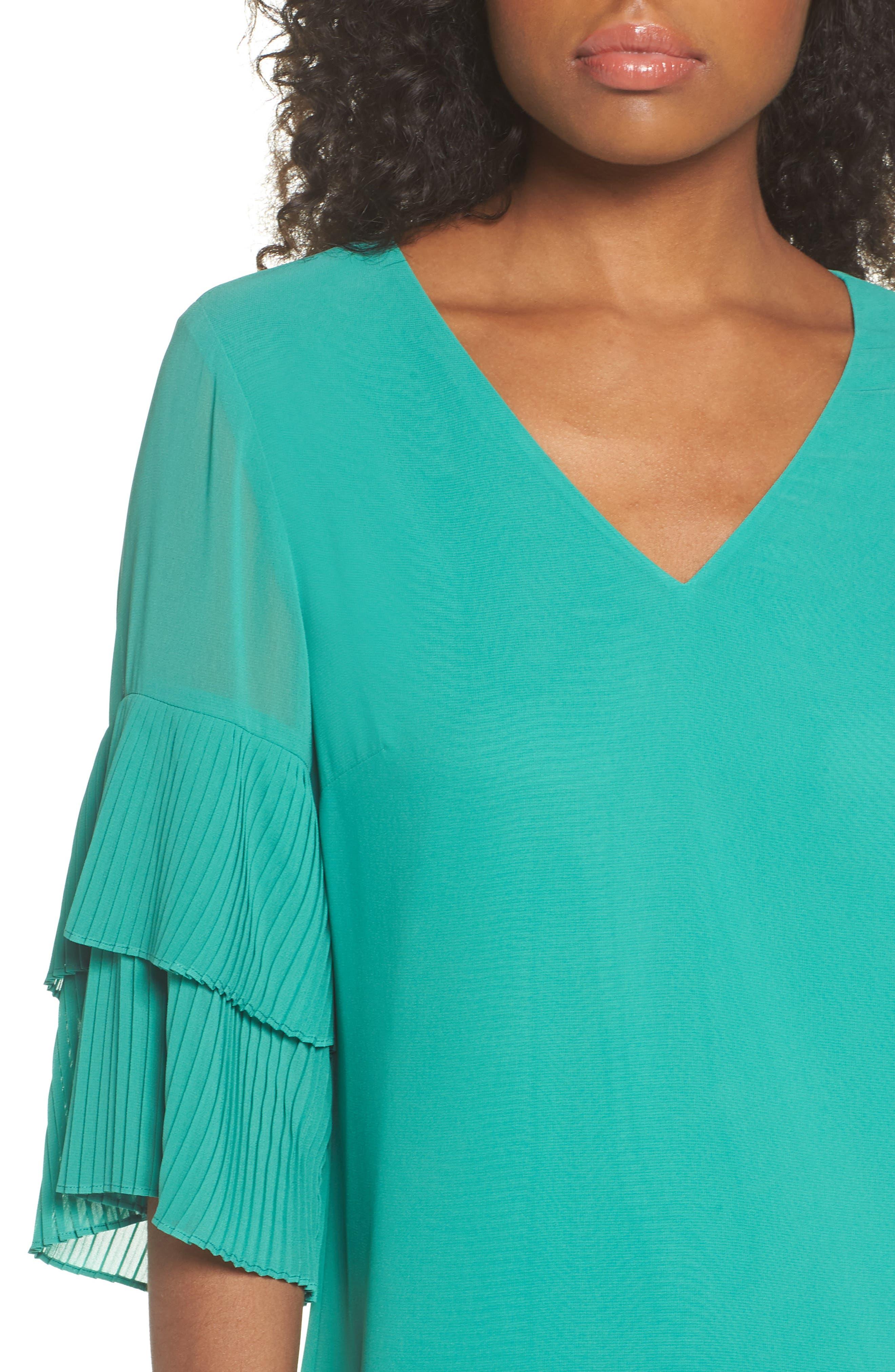 Pleat Sleeve Shift Dress,                             Alternate thumbnail 4, color,                             Green