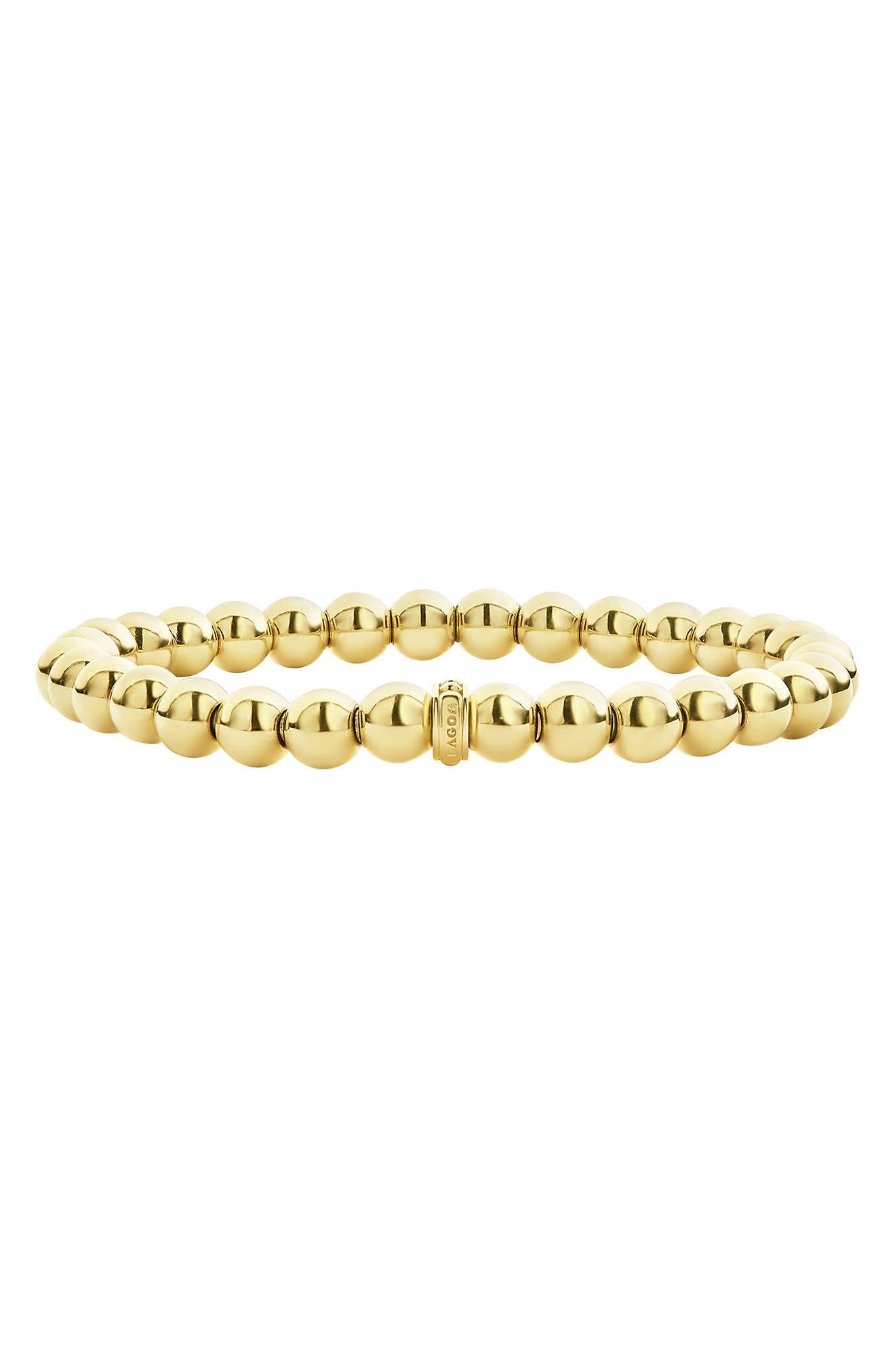 Caviar Gold Ball Stretch Bracelet,                         Main,                         color, Gold