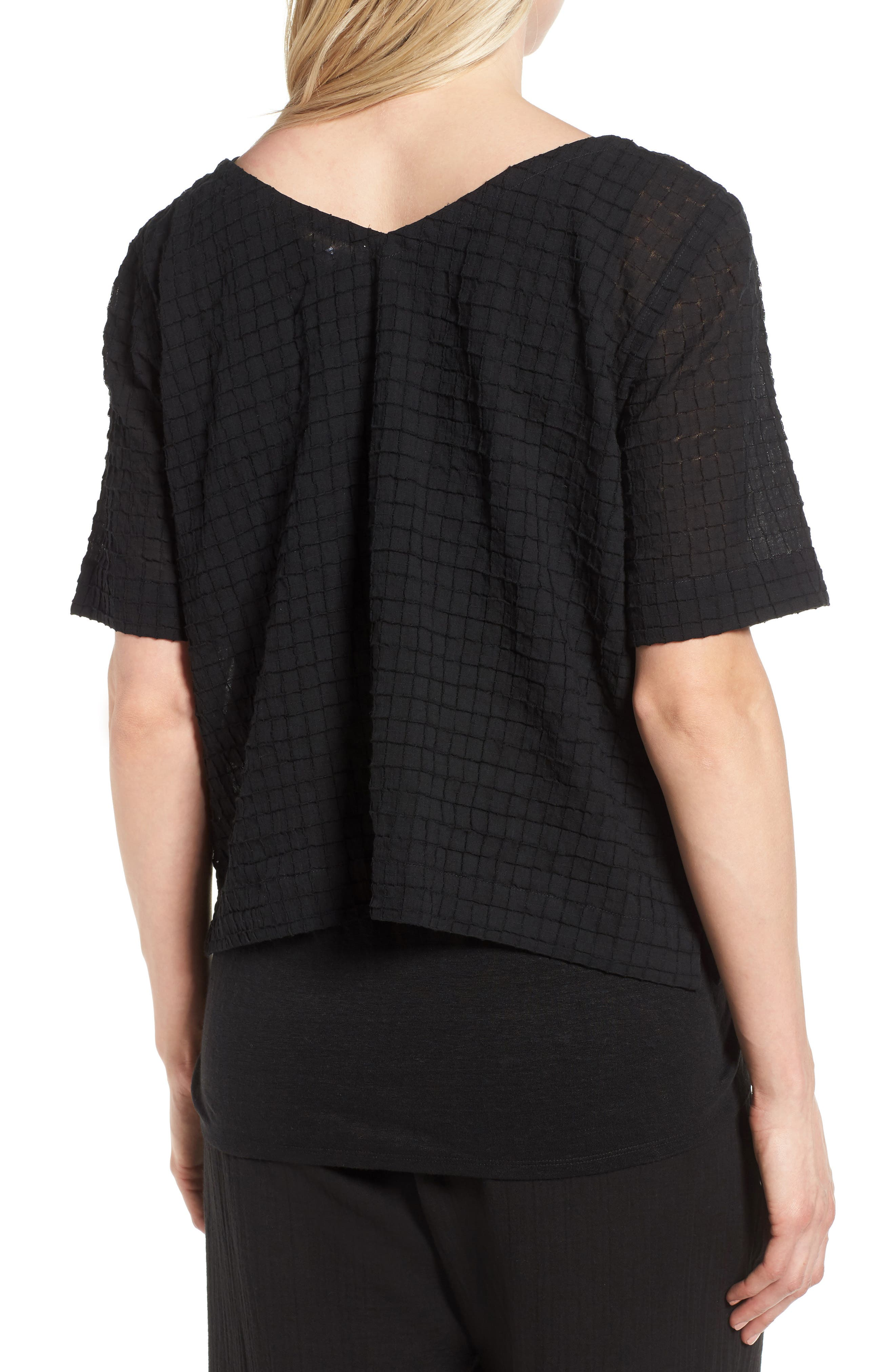 Stretch Organic Cotton Top,                             Alternate thumbnail 2, color,                             Black