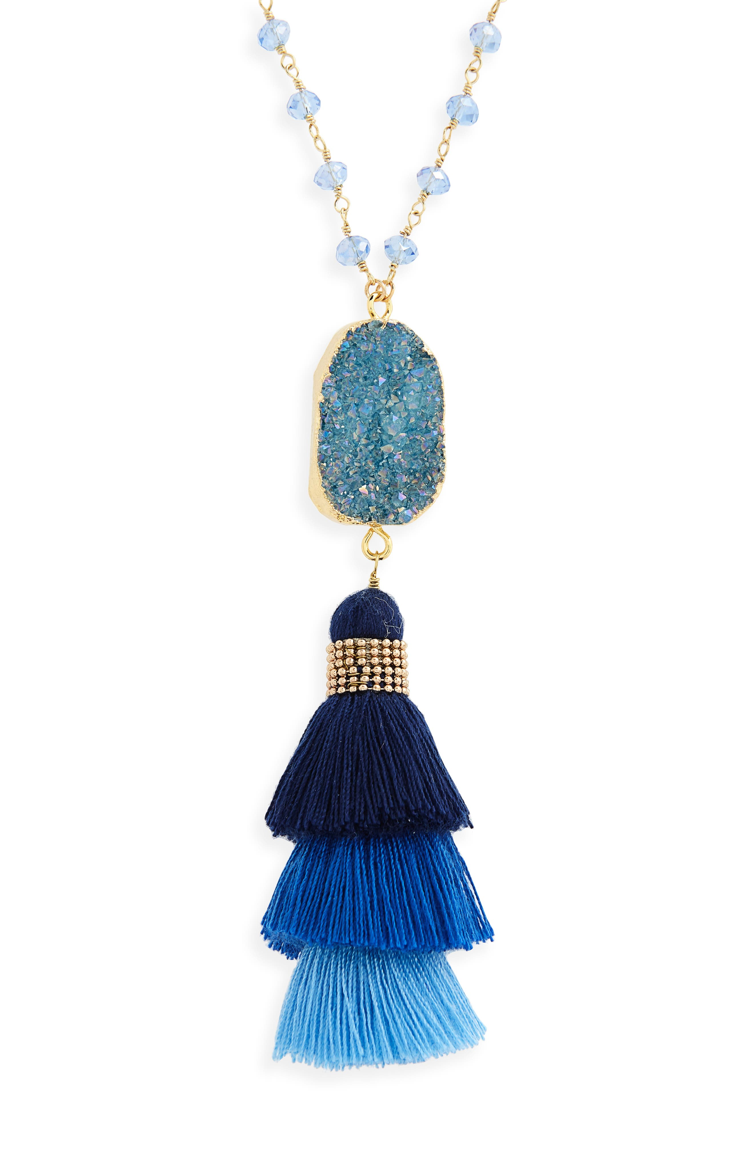 Drusy & Stacked Tassel Pendant Necklace,                             Alternate thumbnail 2, color,                             Blue
