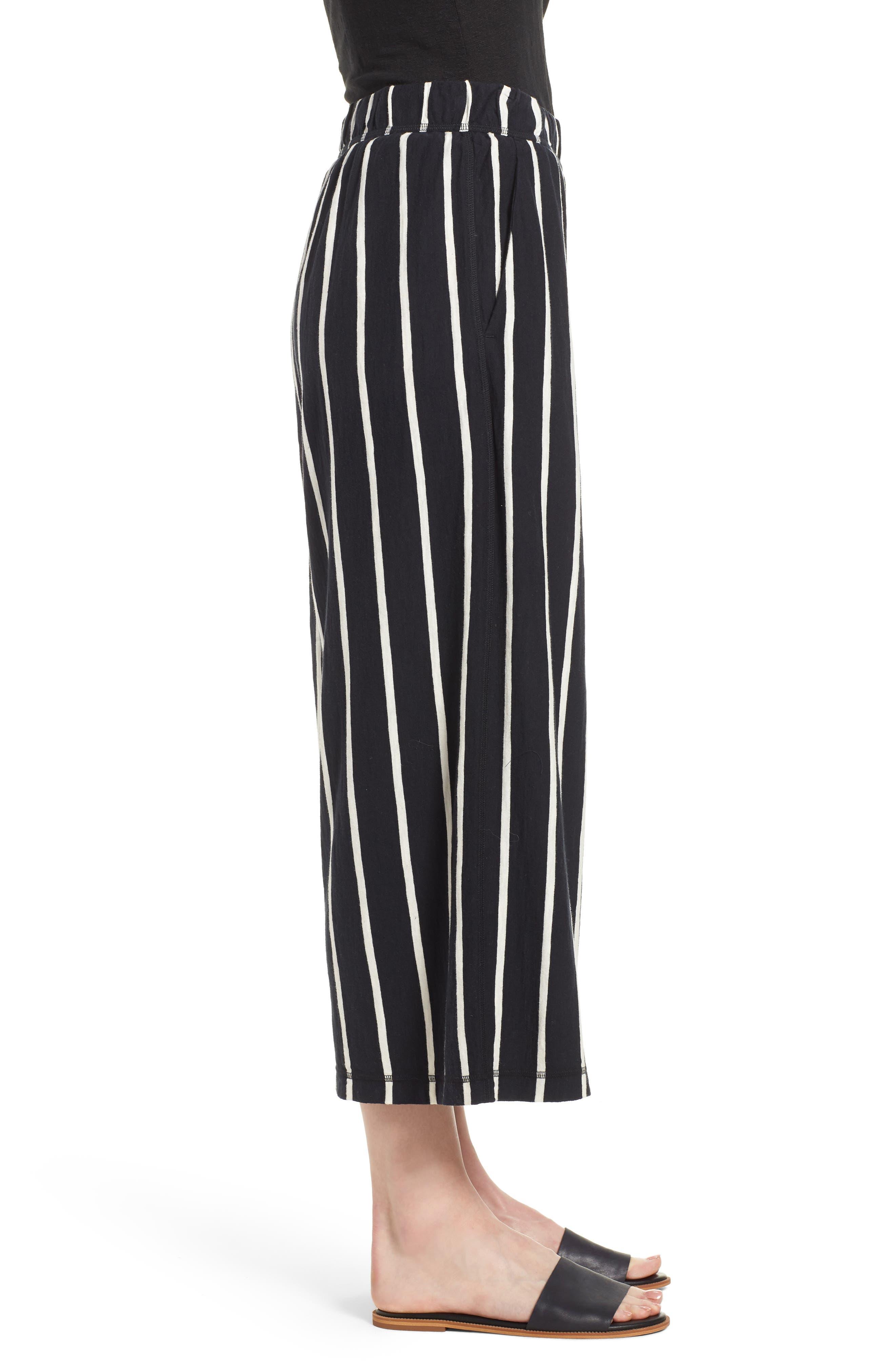 Stripe Organic Cotton Capri Pants,                             Alternate thumbnail 3, color,                             Black/ White