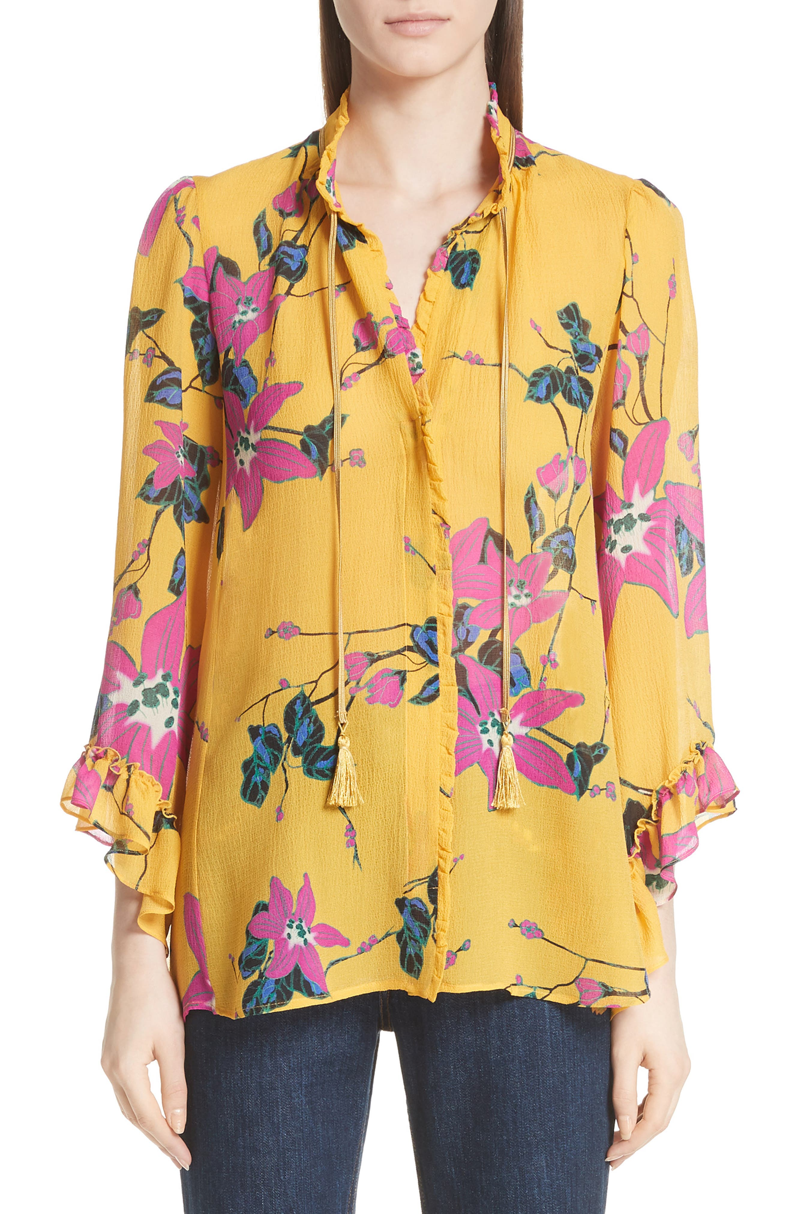 Lily Print Tie Neck Silk Blouse,                             Main thumbnail 1, color,                             Yellow Multi