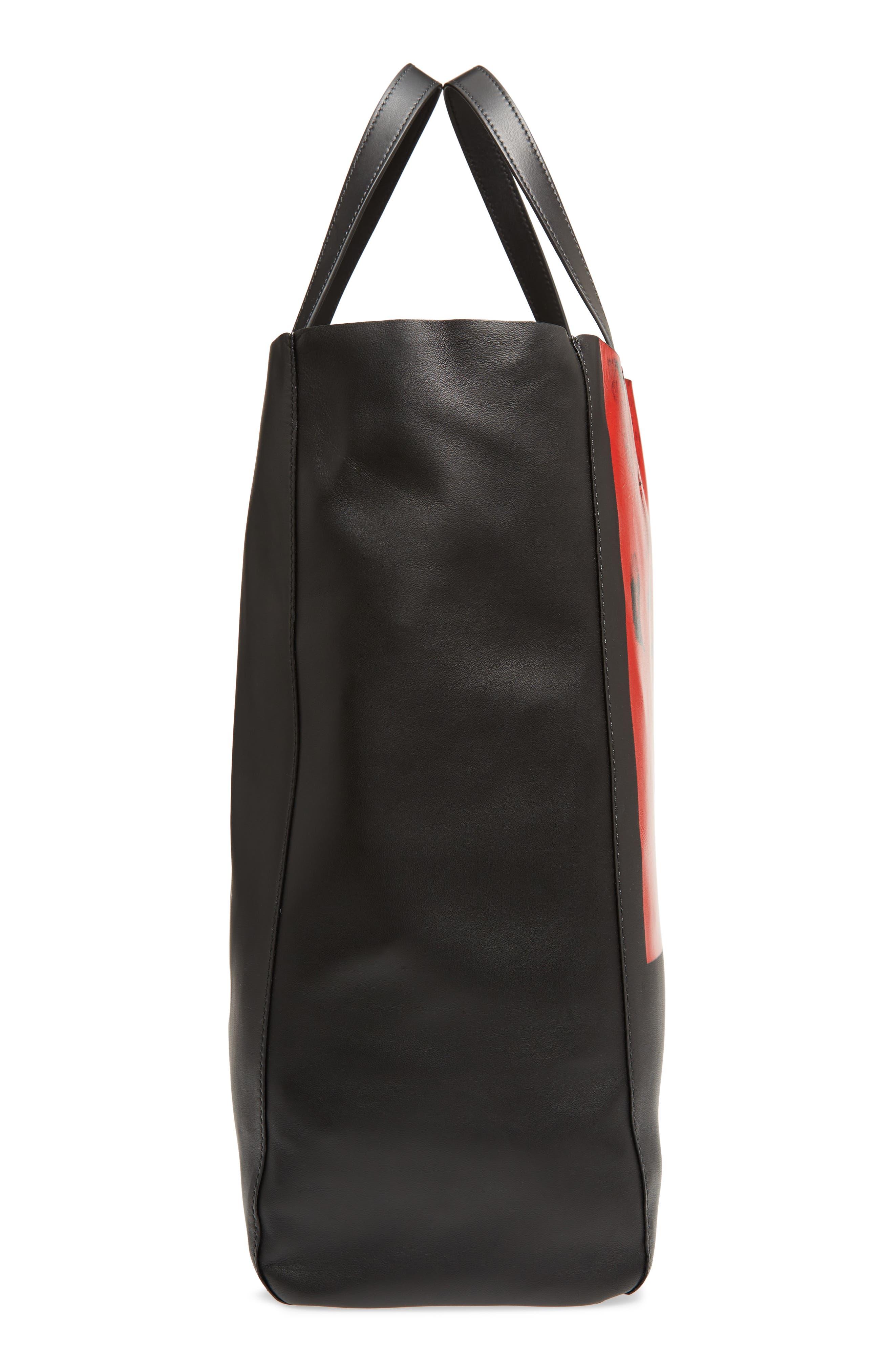 x Andy Warhol Foundation Dennis Hopper Calfskin Leather Bucket Bag,                             Alternate thumbnail 5, color,                             Black/ Red