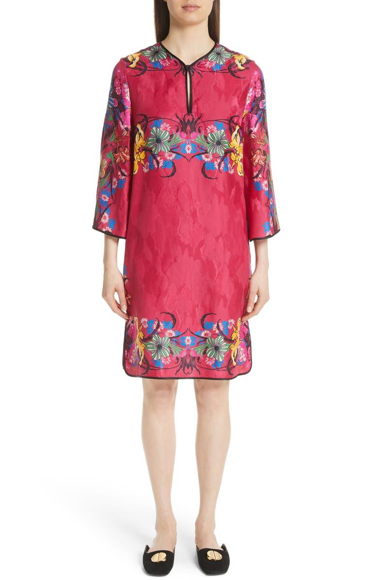 Floral Jacquard Shift Dress