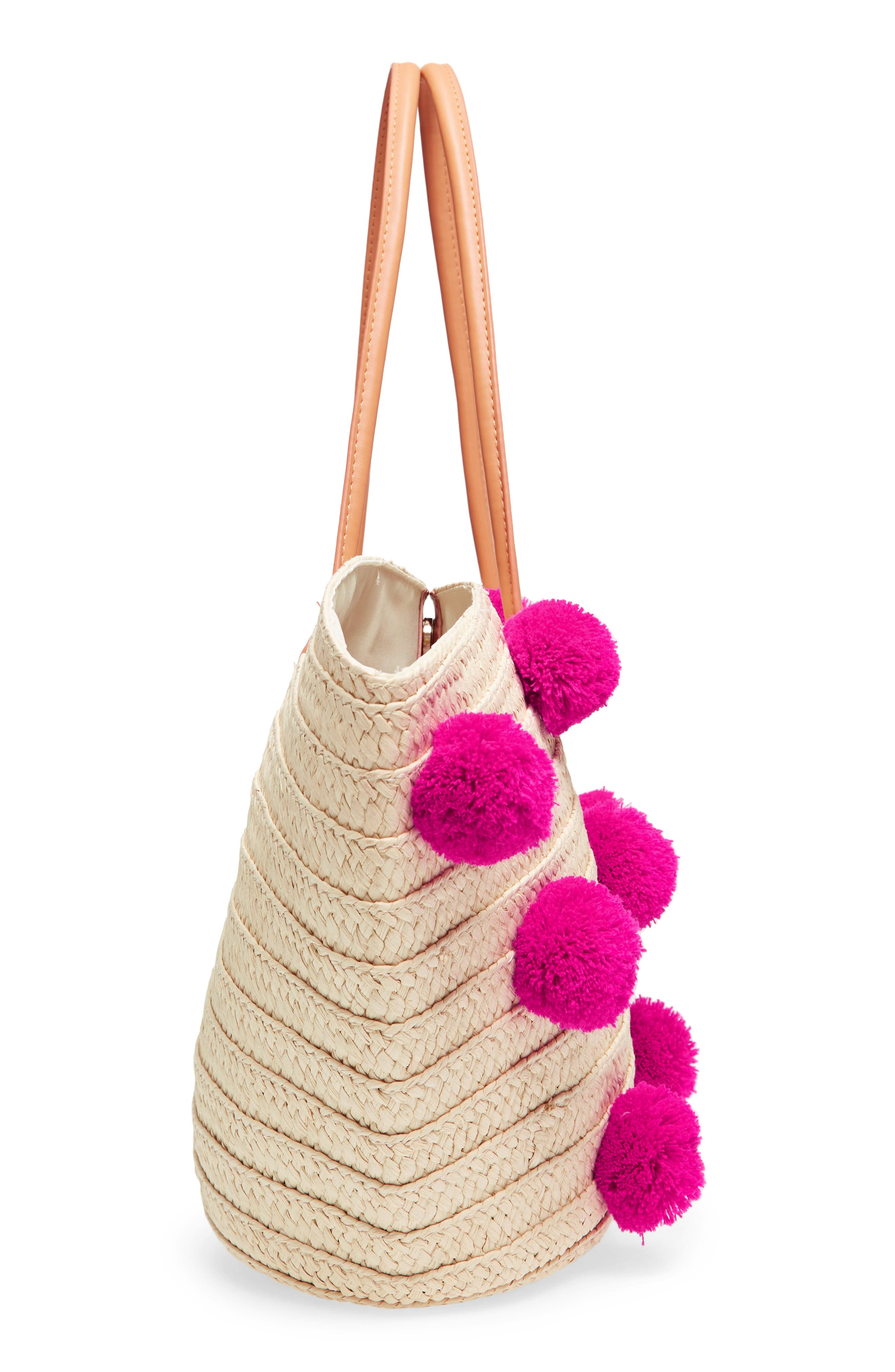 Klo Pompom Straw Tote,                             Alternate thumbnail 5, color,                             Pink