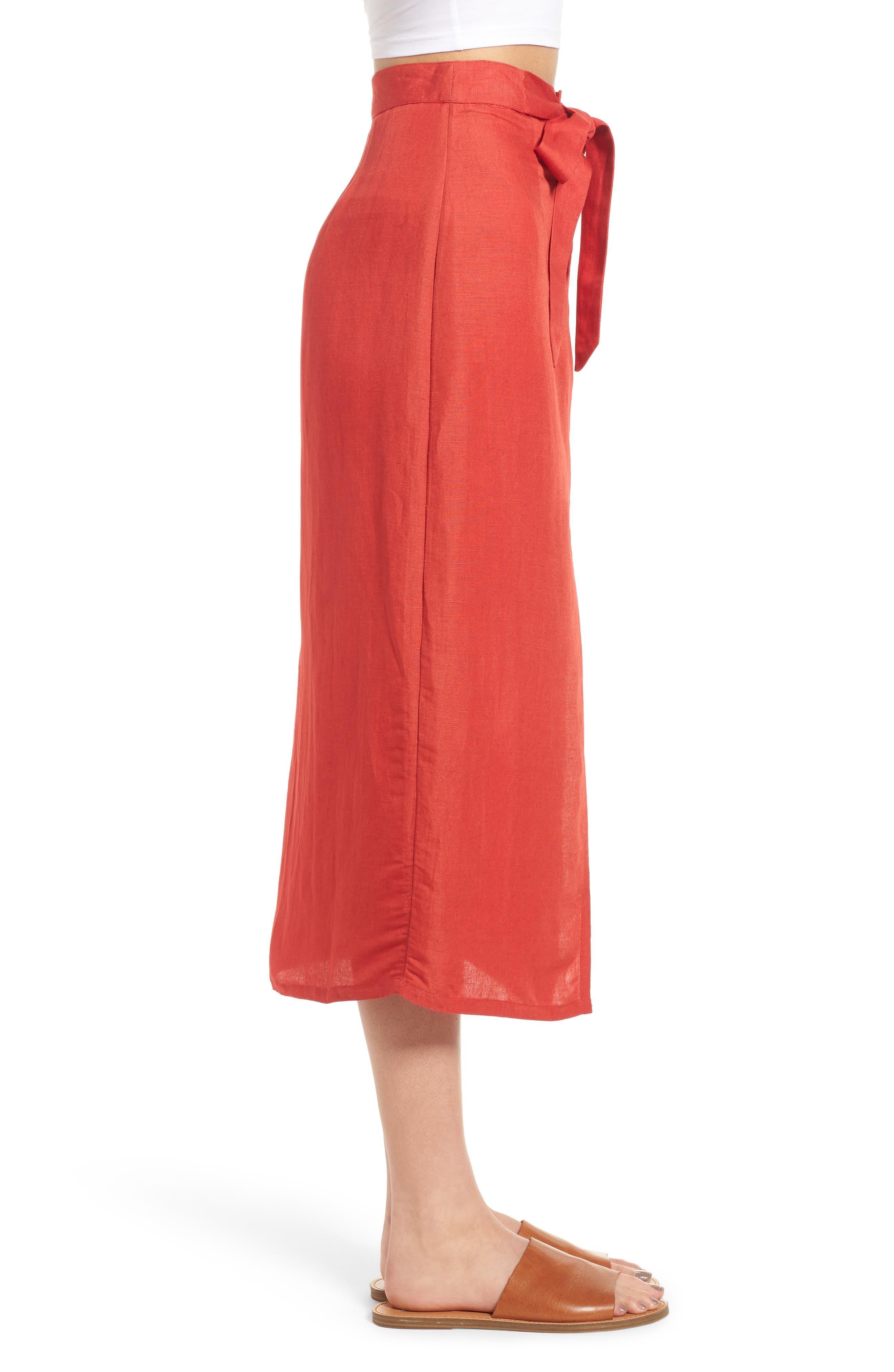 Linen Blend Midi Skirt,                             Alternate thumbnail 3, color,                             Red