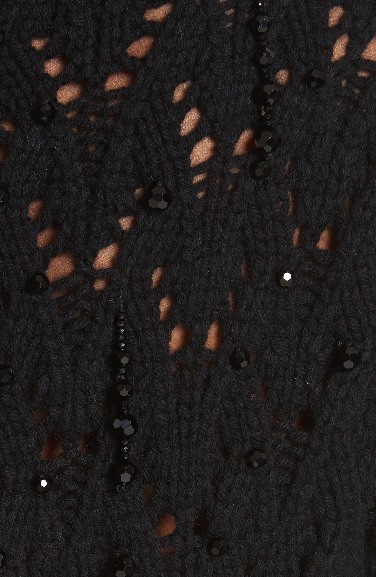 Beaded Wool & Cashmere Cardigan,                             Alternate thumbnail 8, color,                             Black