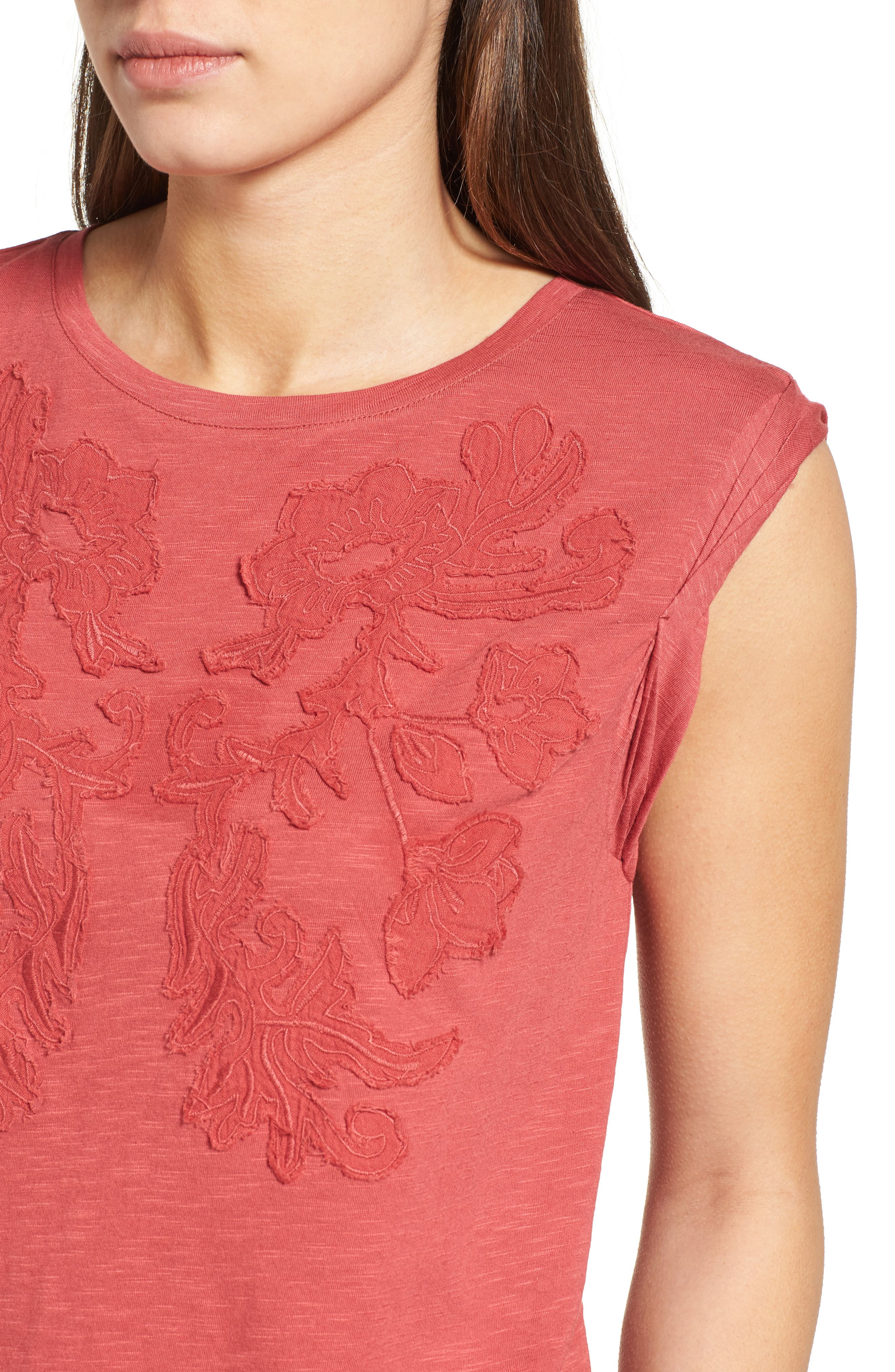 Embroidered Slub Knit Tank,                             Alternate thumbnail 4, color,                             Red Earth
