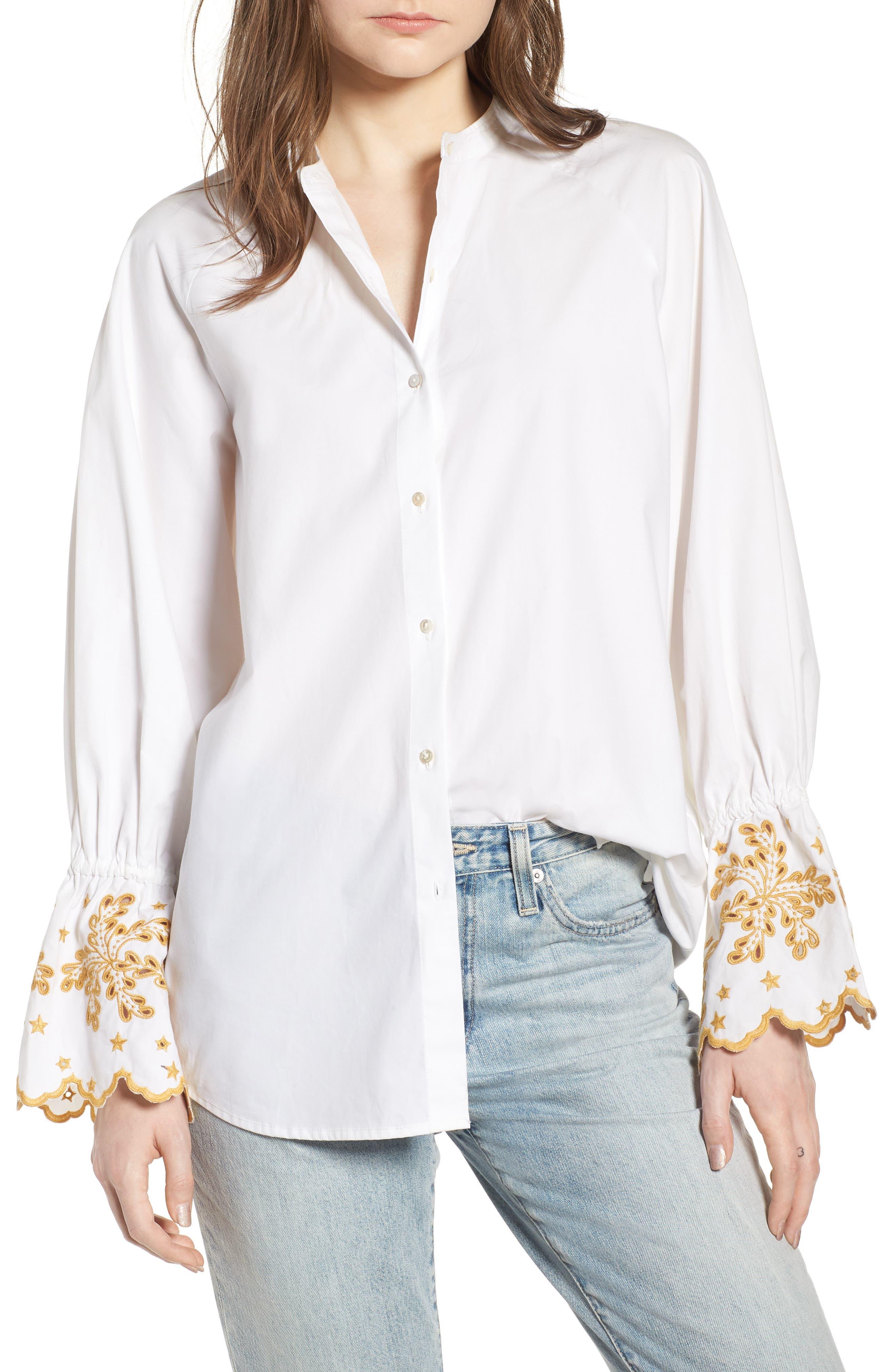 Oversize Button Front Shirt,                             Main thumbnail 1, color,                             Color 06 White