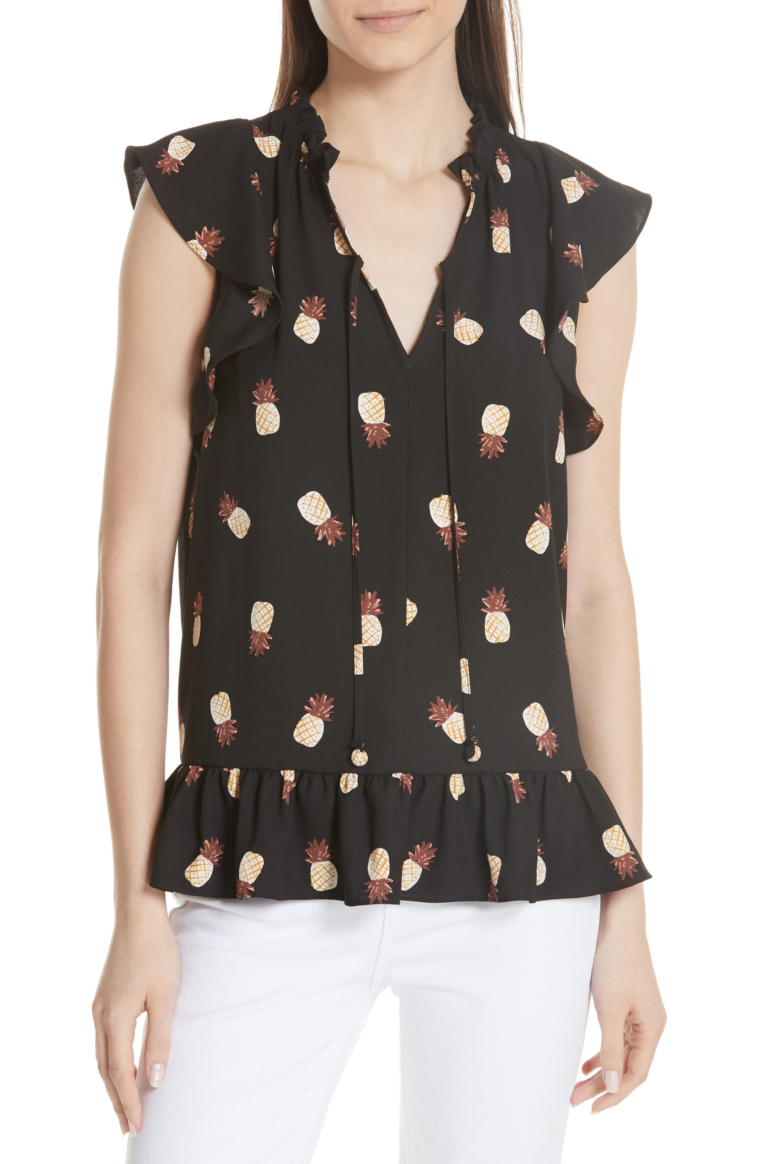 pineapple print ruffed blouse,                         Main,                         color, Black