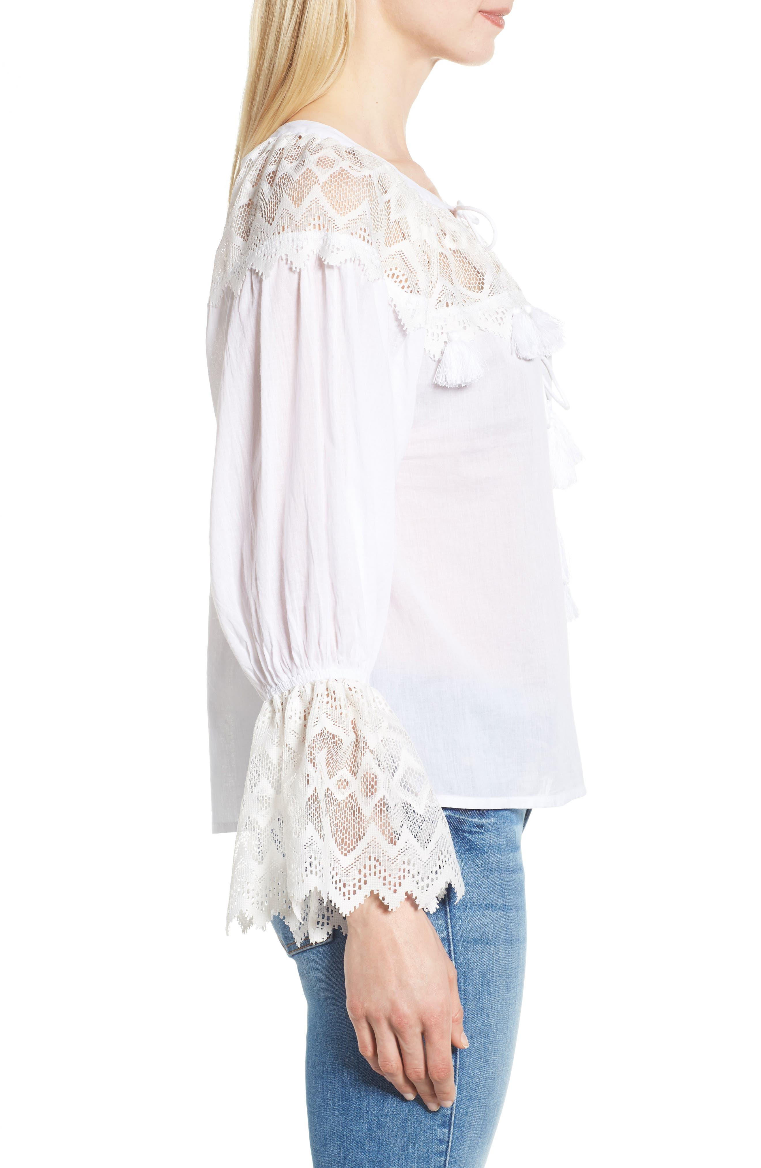 Alternate Image 3  - KAS NEW YORK Berkley White Lace Cotton Blend Top