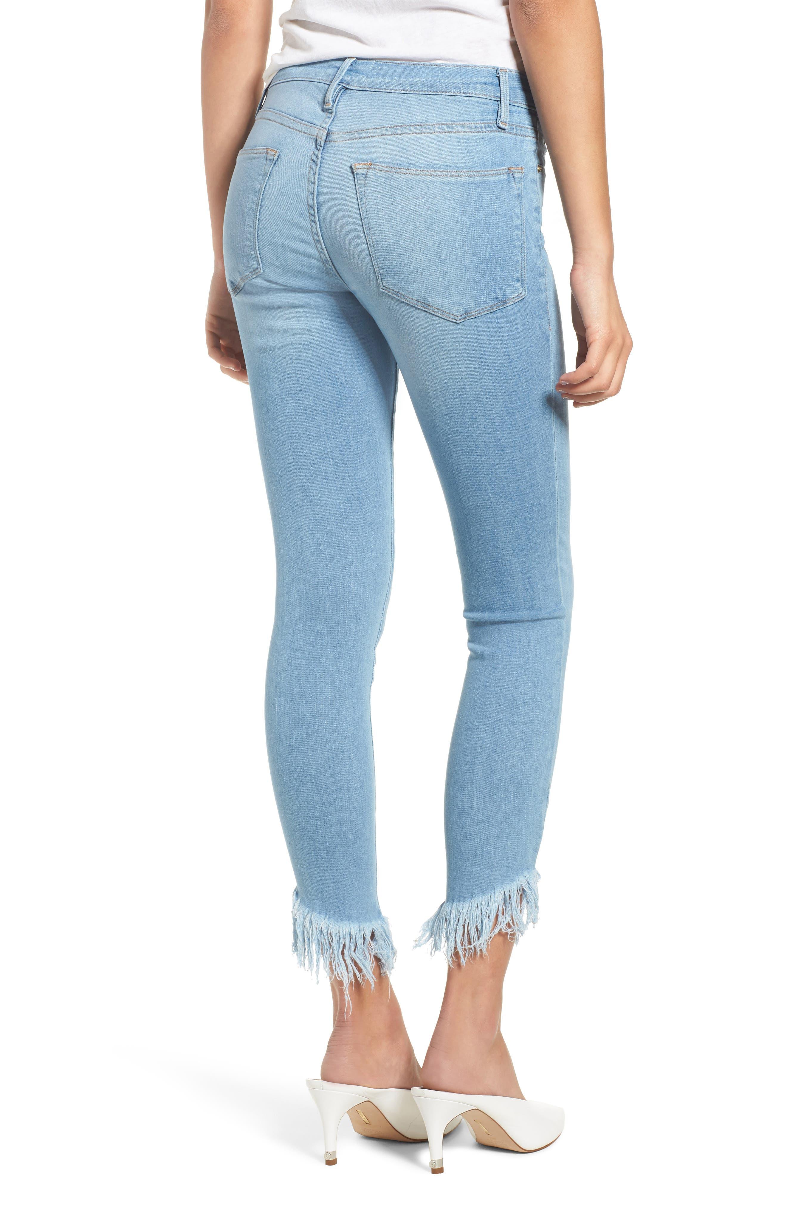 Le High Shredded Hem Skinny Jeans,                             Alternate thumbnail 2, color,                             Eling