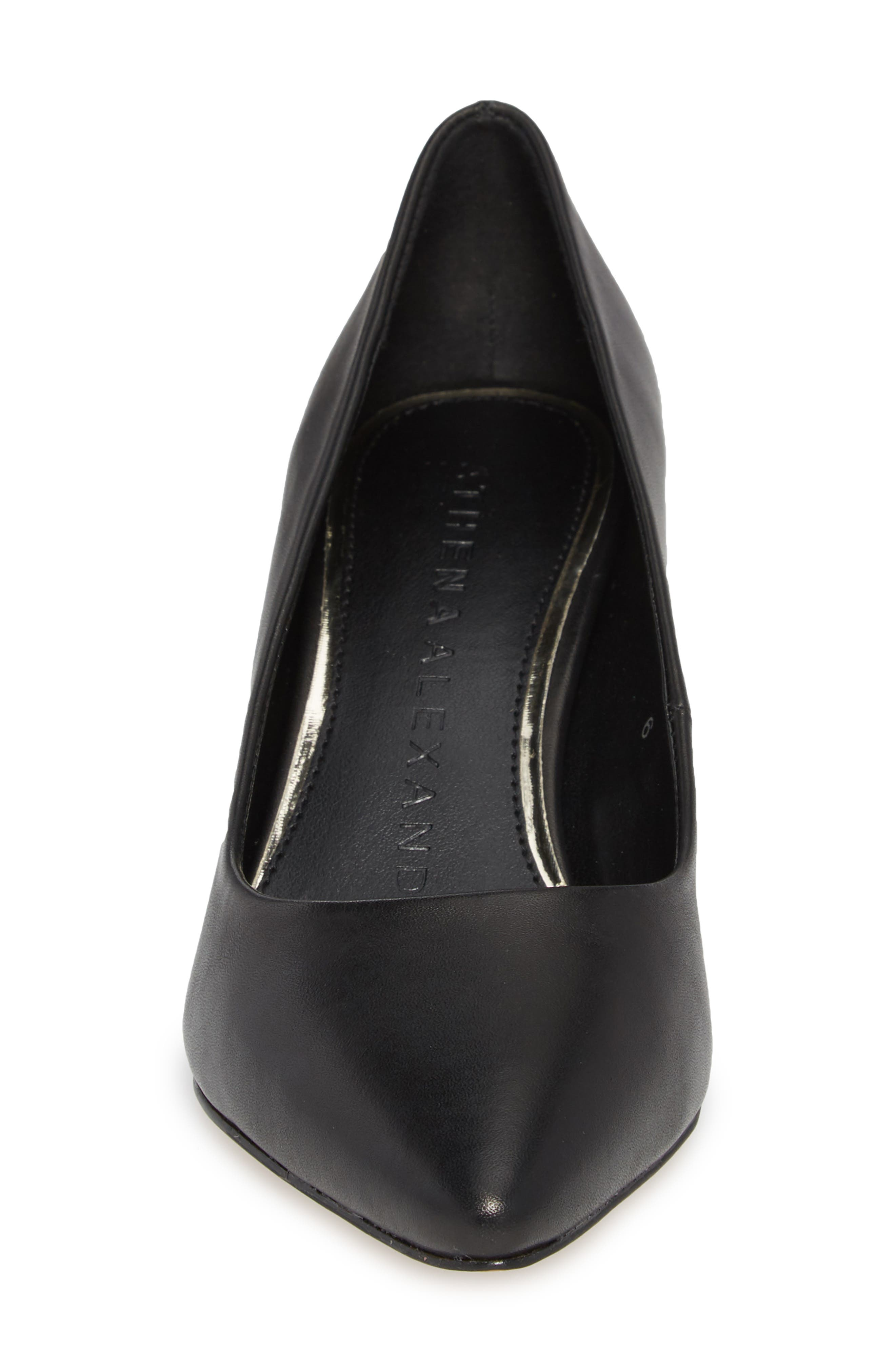 Haven Block Heel Pump,                             Alternate thumbnail 4, color,                             Black Leather