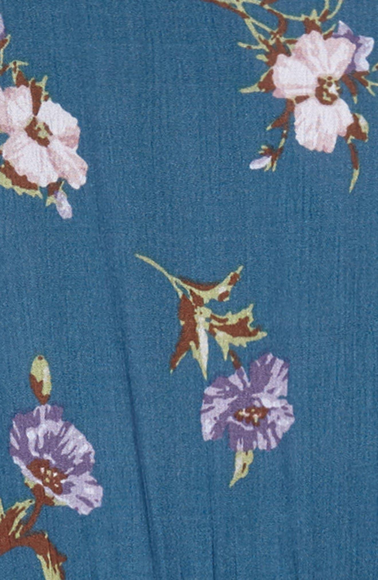 Floral Wrap Dress,                             Alternate thumbnail 3, color,                             Blue Multi