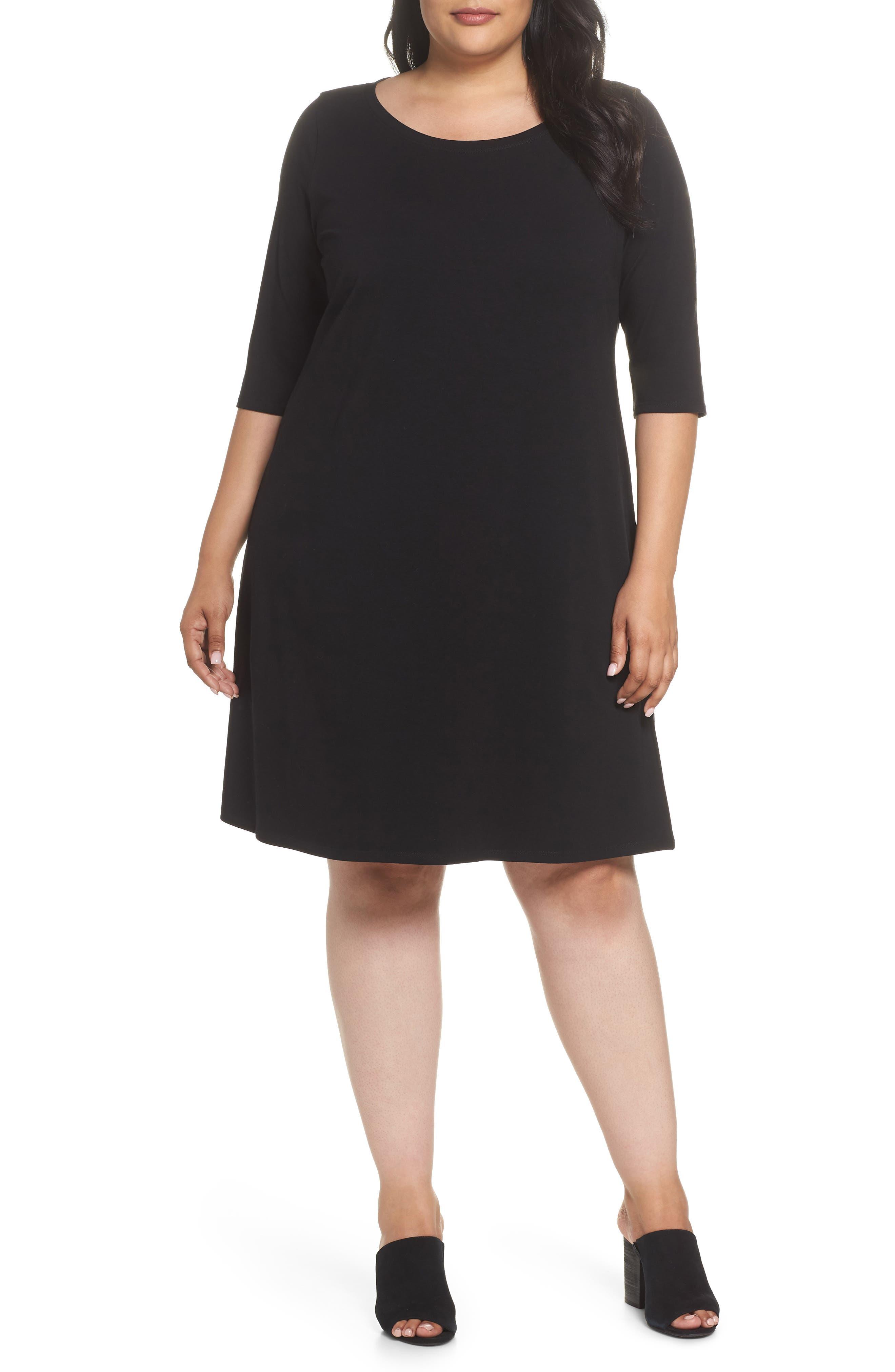 Stretch Organic Cotton Shift Dress,                         Main,                         color, Black