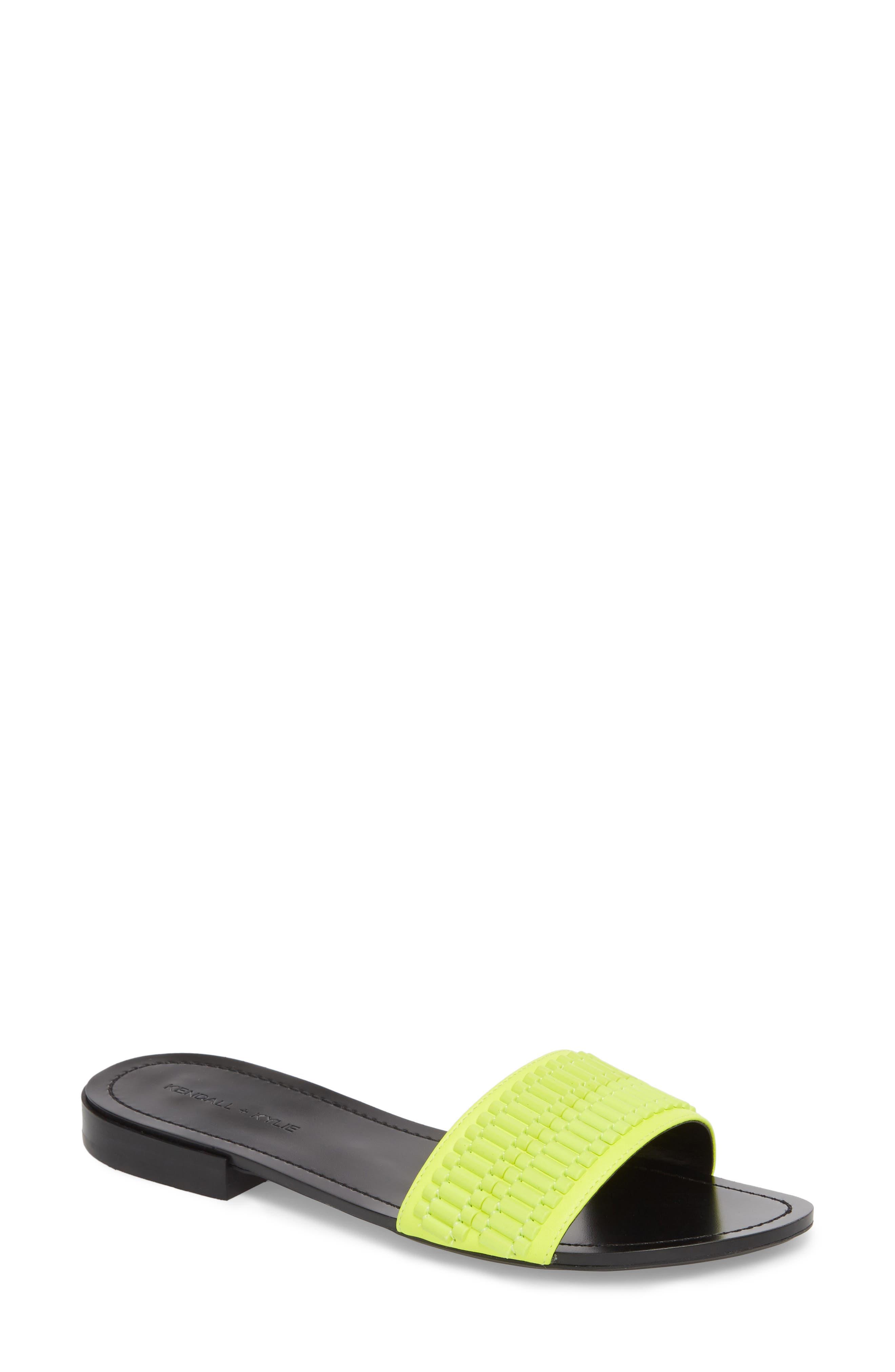 Kennedy Slide Sandal,                             Main thumbnail 1, color,                             Fluorescent Yellow/ Yellow