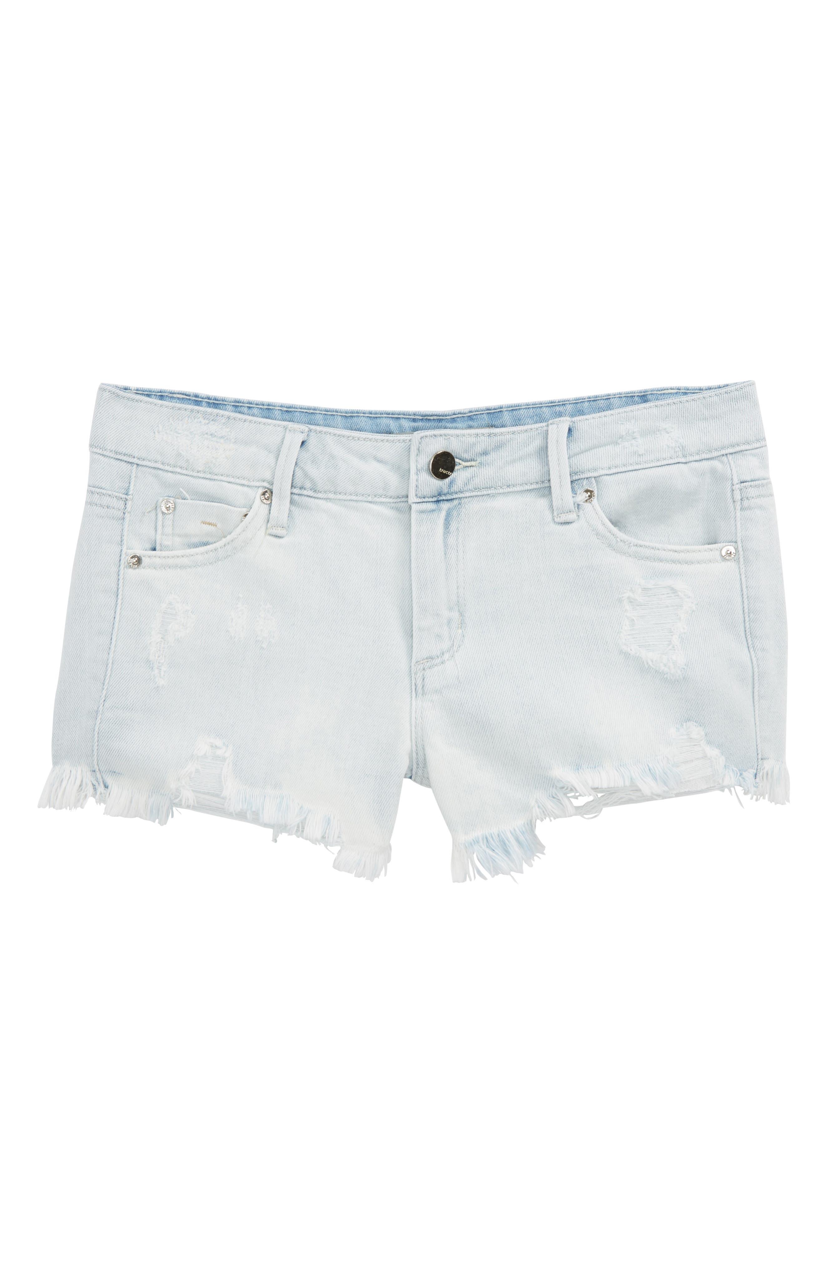 Destructed Frayed Denim Shorts,                             Main thumbnail 1, color,                             Light Indigo