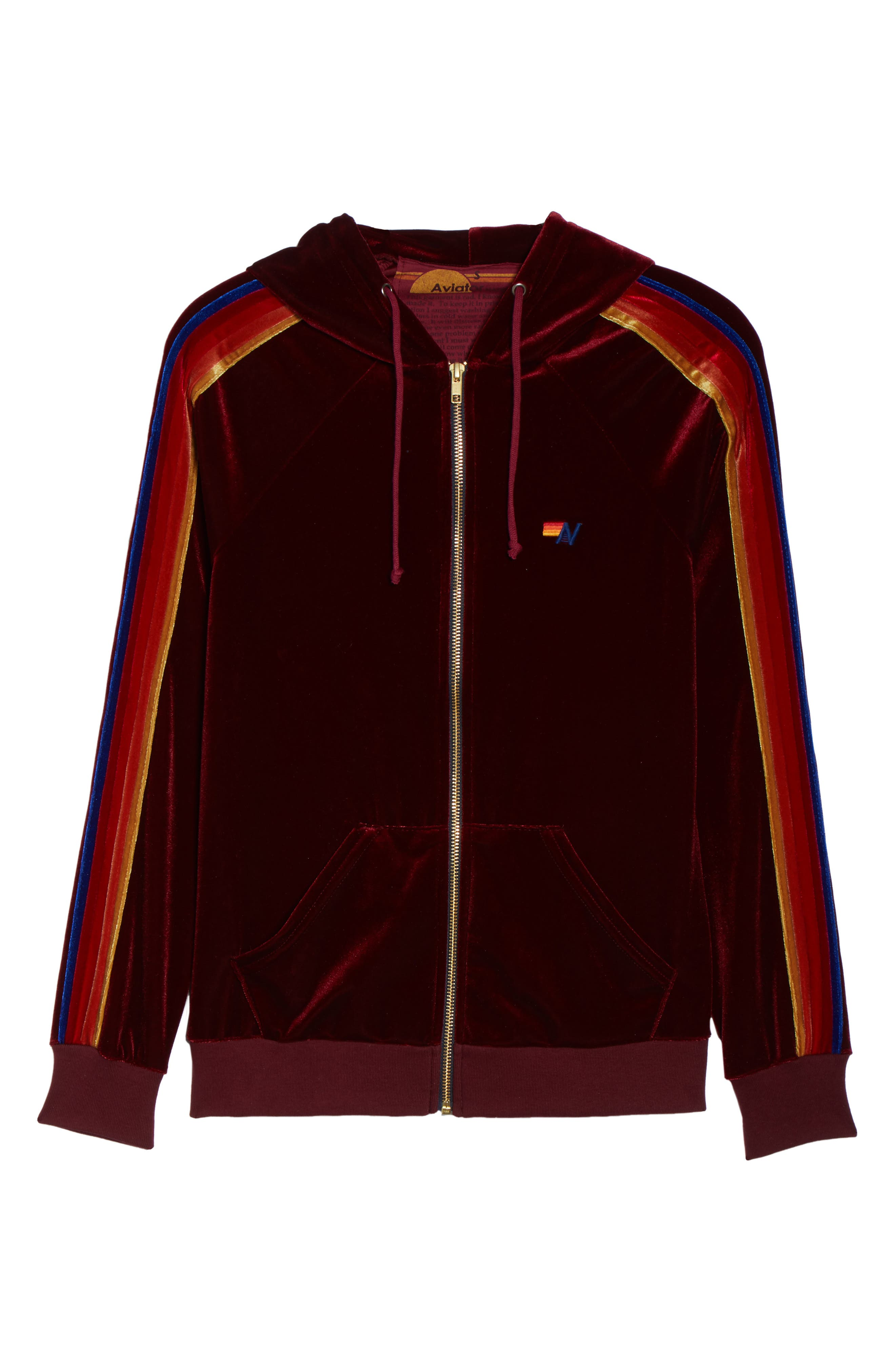 Classic Velvet Hoodie,                             Alternate thumbnail 8, color,                             Wine