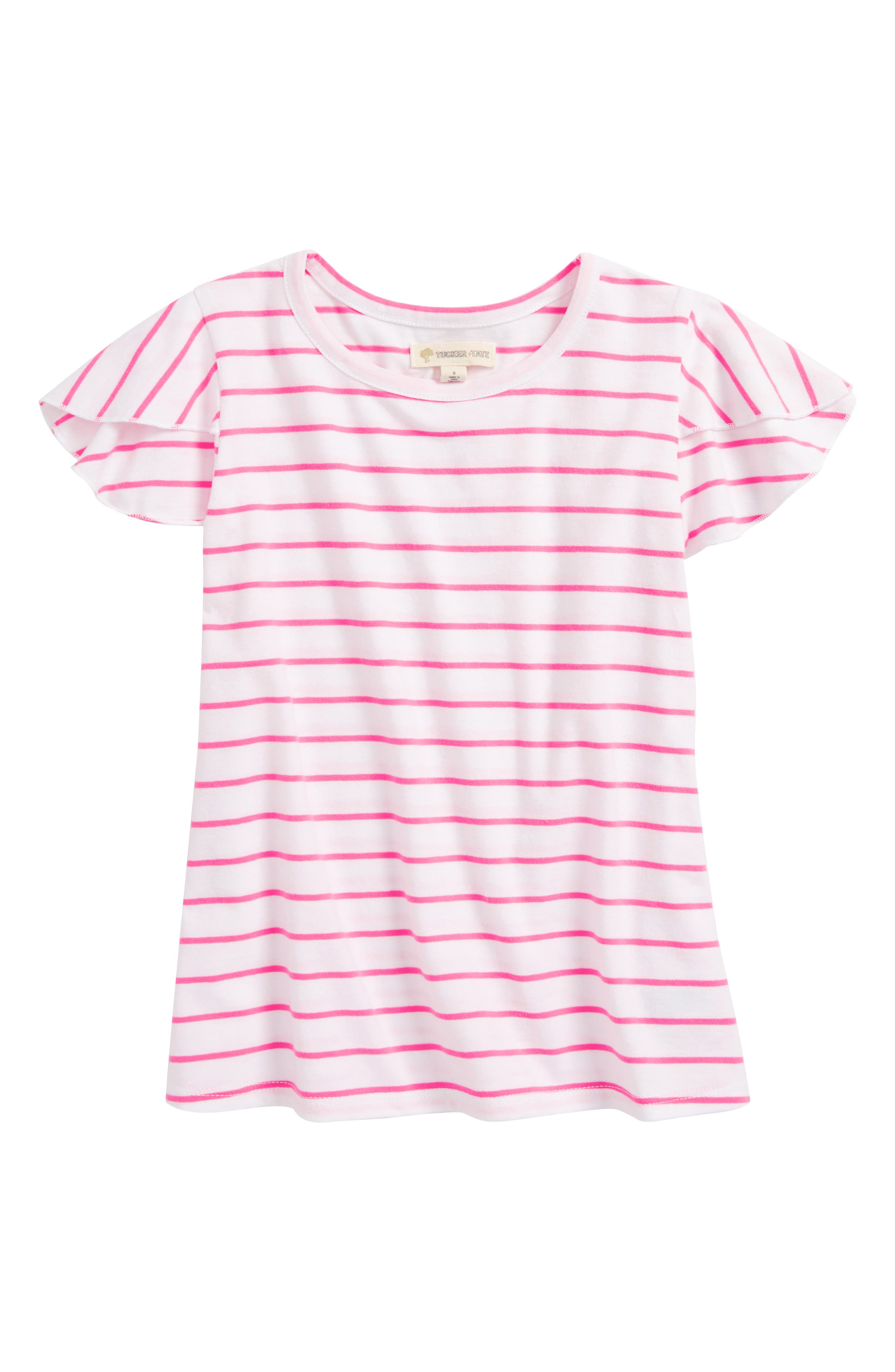 Flutter Sleeve Tee,                         Main,                         color, White- Pink Stripe