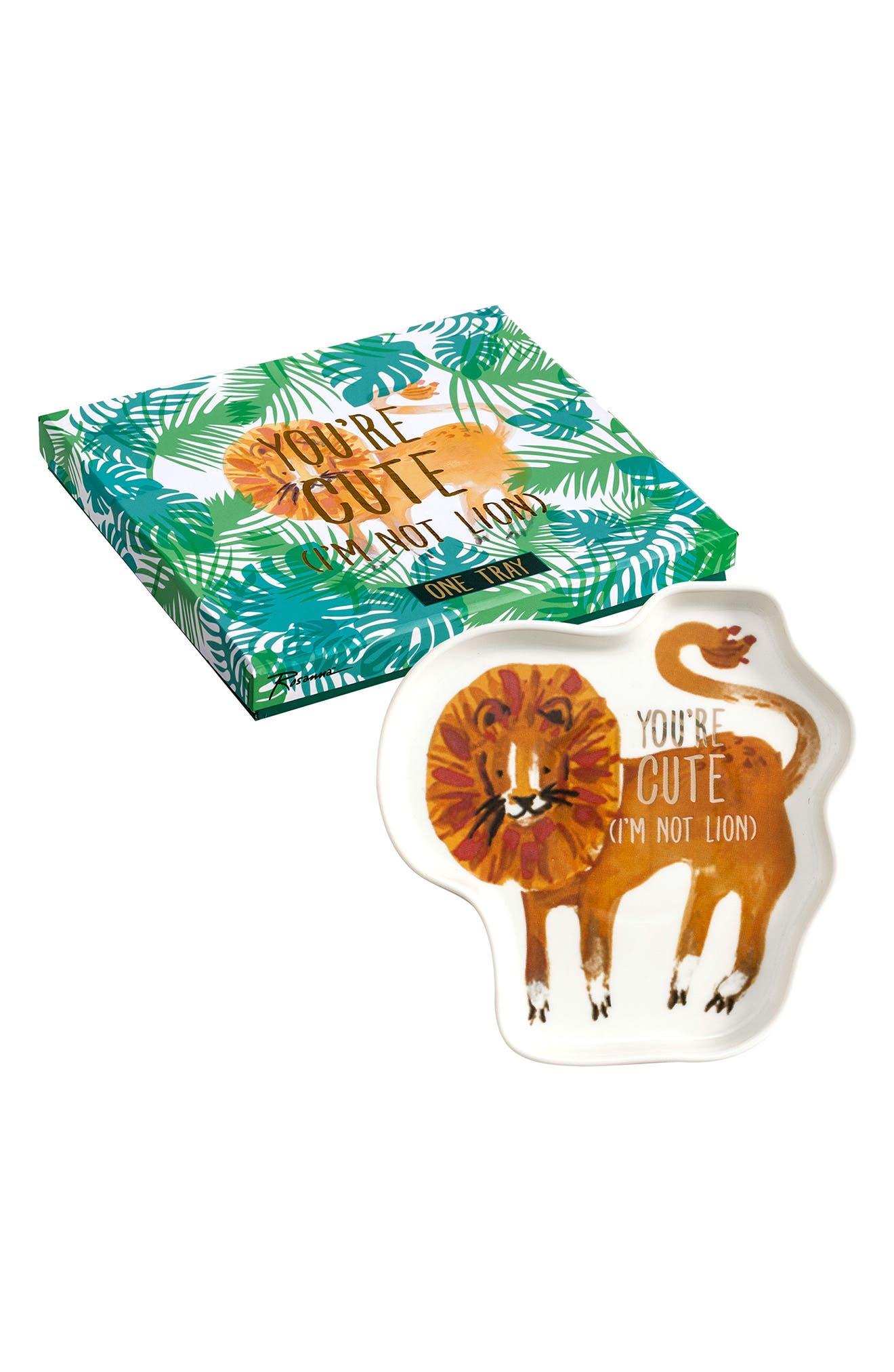 Be Wild Lion Trinket Tray,                             Main thumbnail 1, color,                             Multi