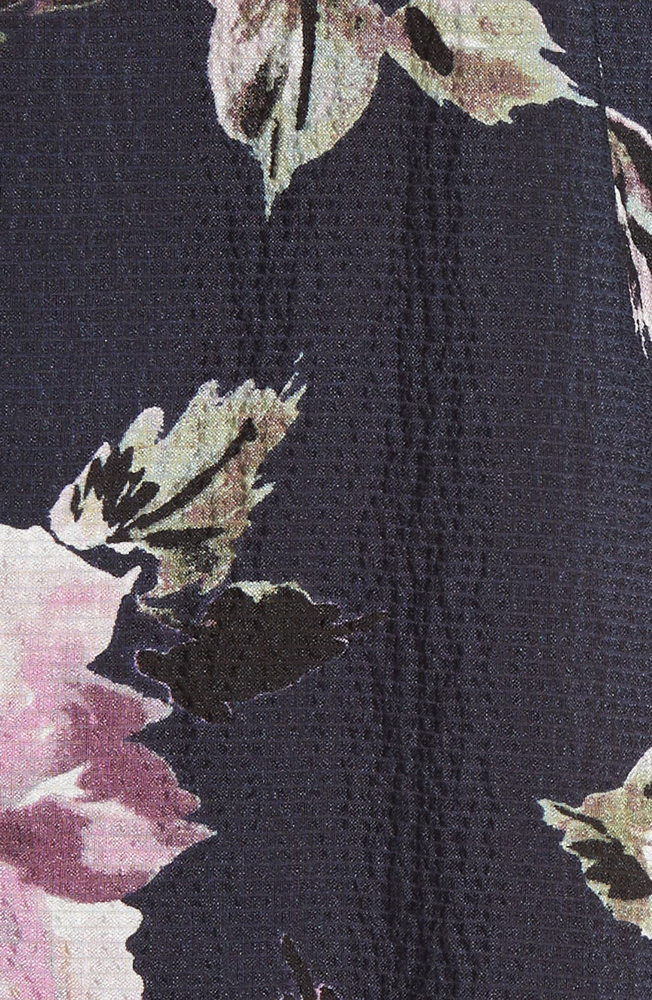 Magnolia Stretch Silk Tie Front Top,                             Alternate thumbnail 5, color,                             Blueberry Combo