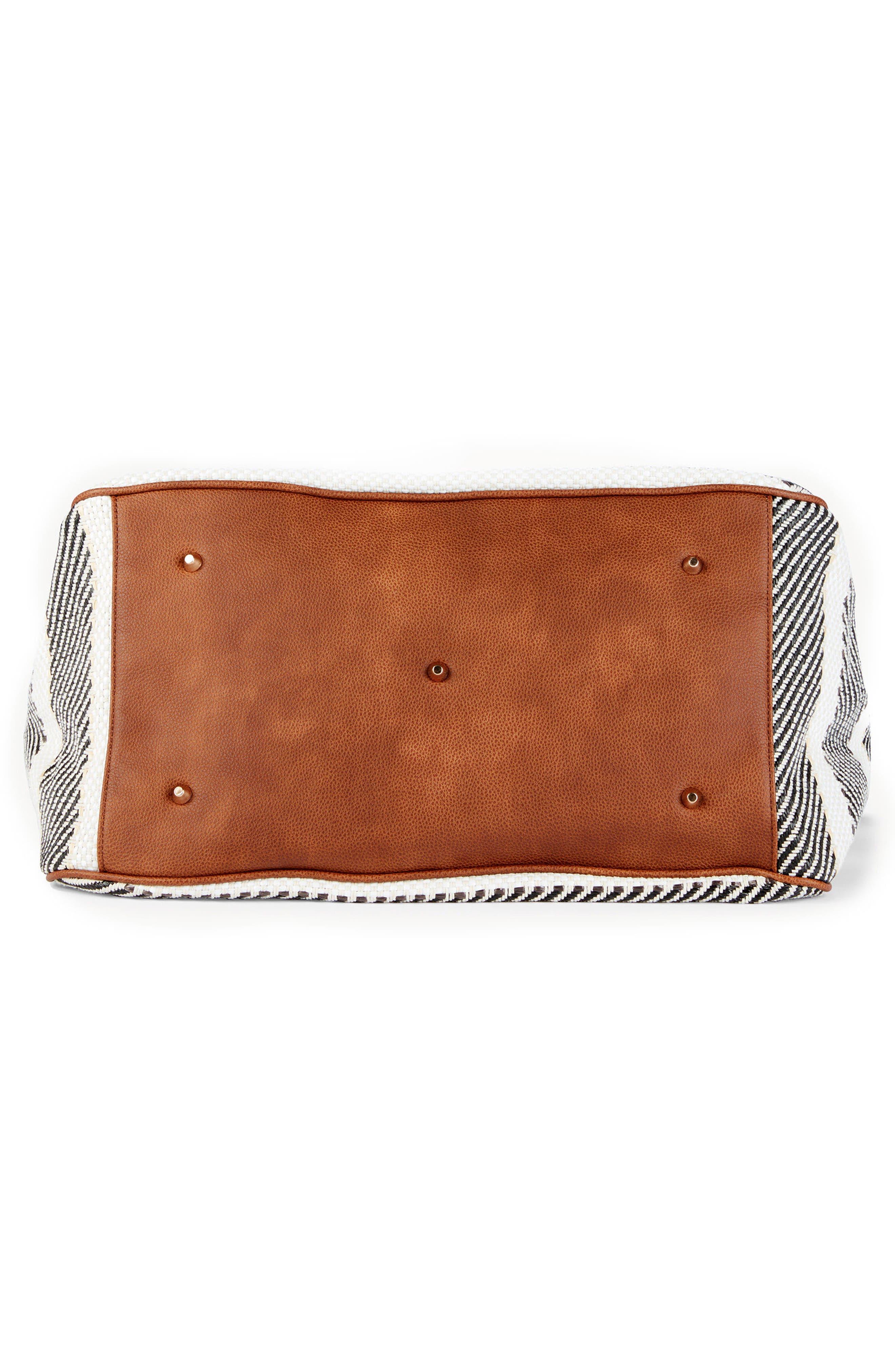 Stripe Woven Weekend Bag,                             Alternate thumbnail 6, color,                             Black/ Cream Combo
