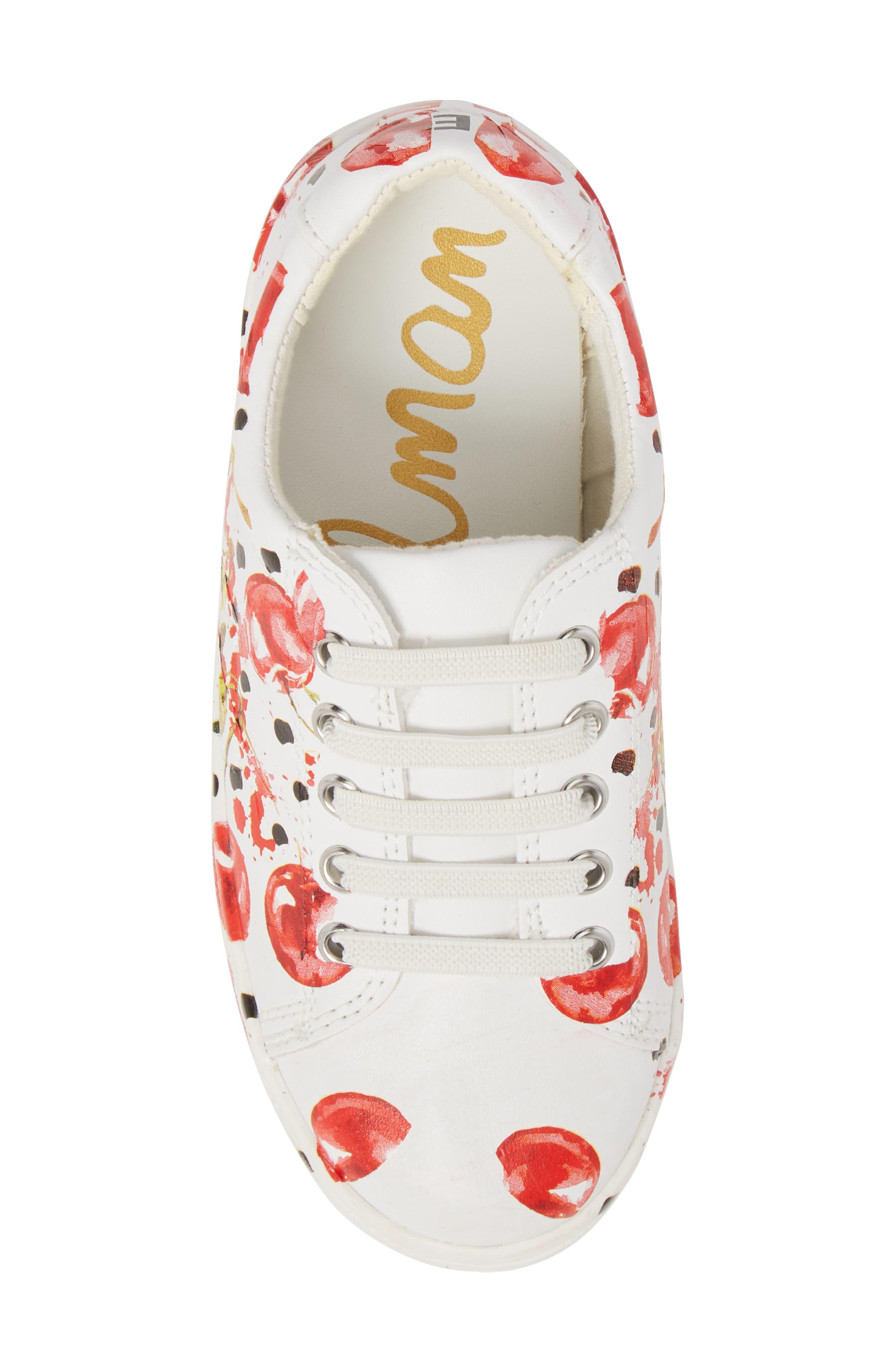 Blane Milford Fruit Print Sneaker,                             Alternate thumbnail 5, color,                             White/ Cherry Faux Leather