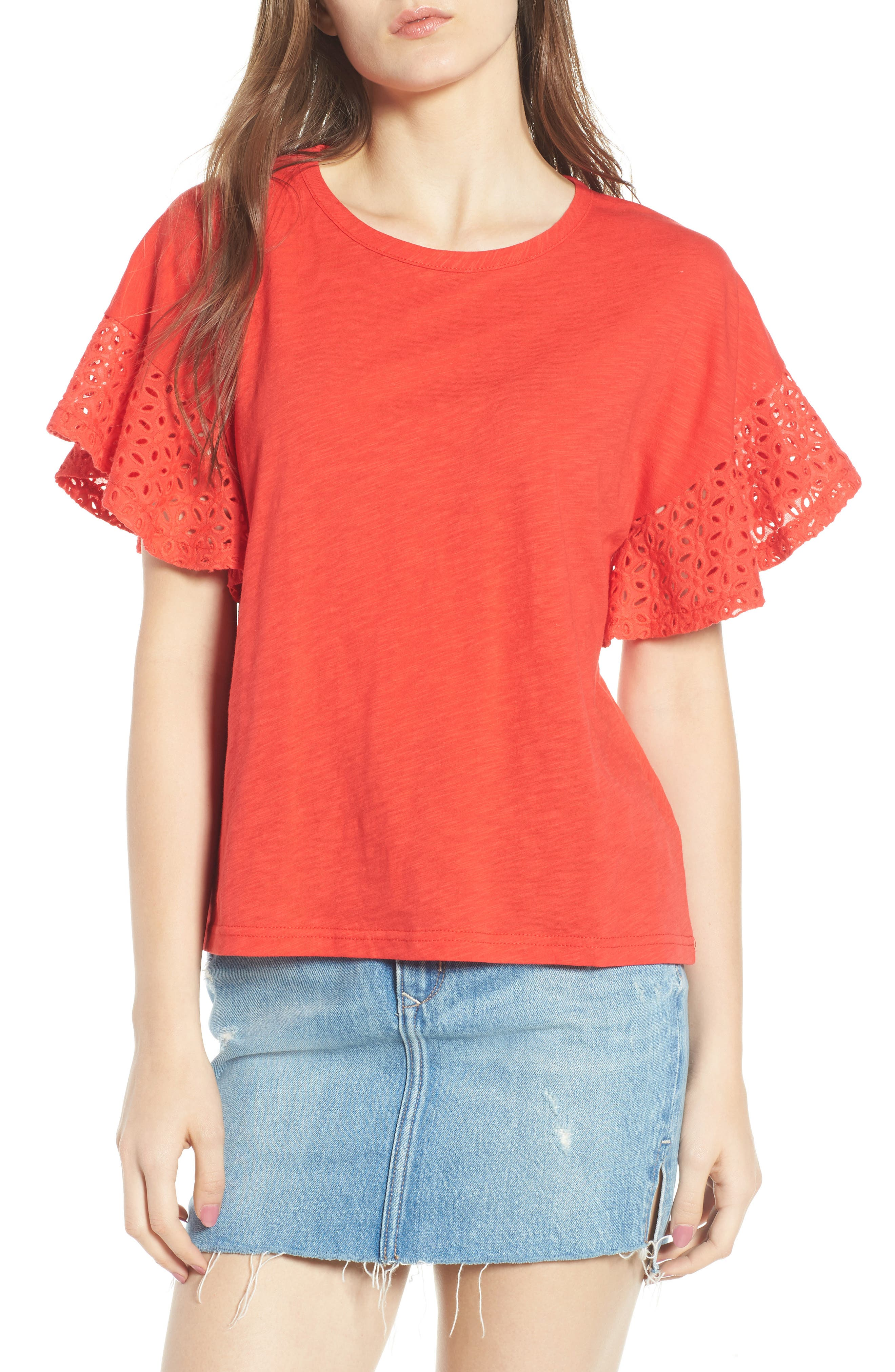 Eyelet Sleeve Burnout Tee,                         Main,                         color, Red