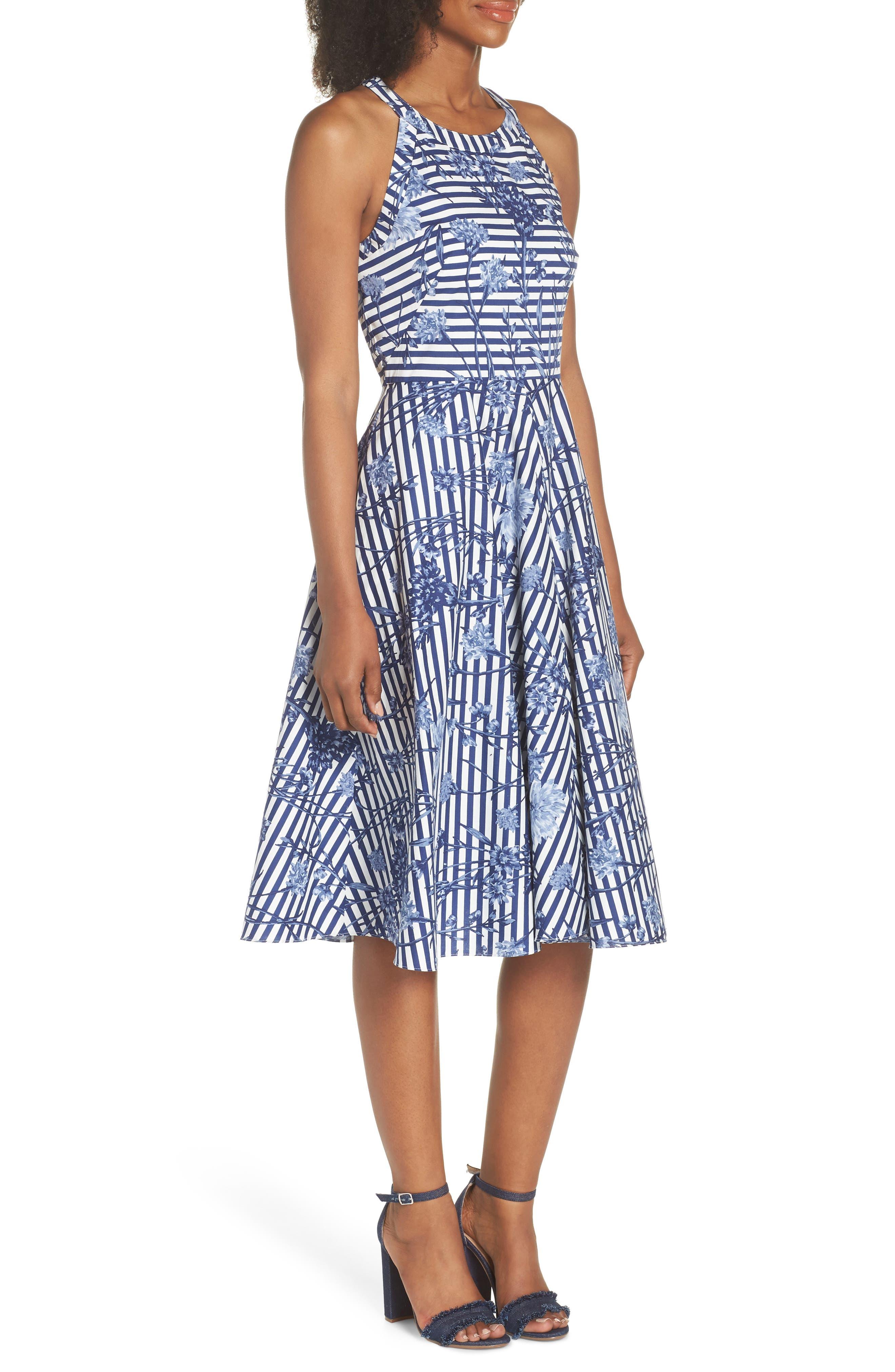 Floral Stripe Halter Fit & Flare Poplin Dress,                             Alternate thumbnail 3, color,                             Blue/ White