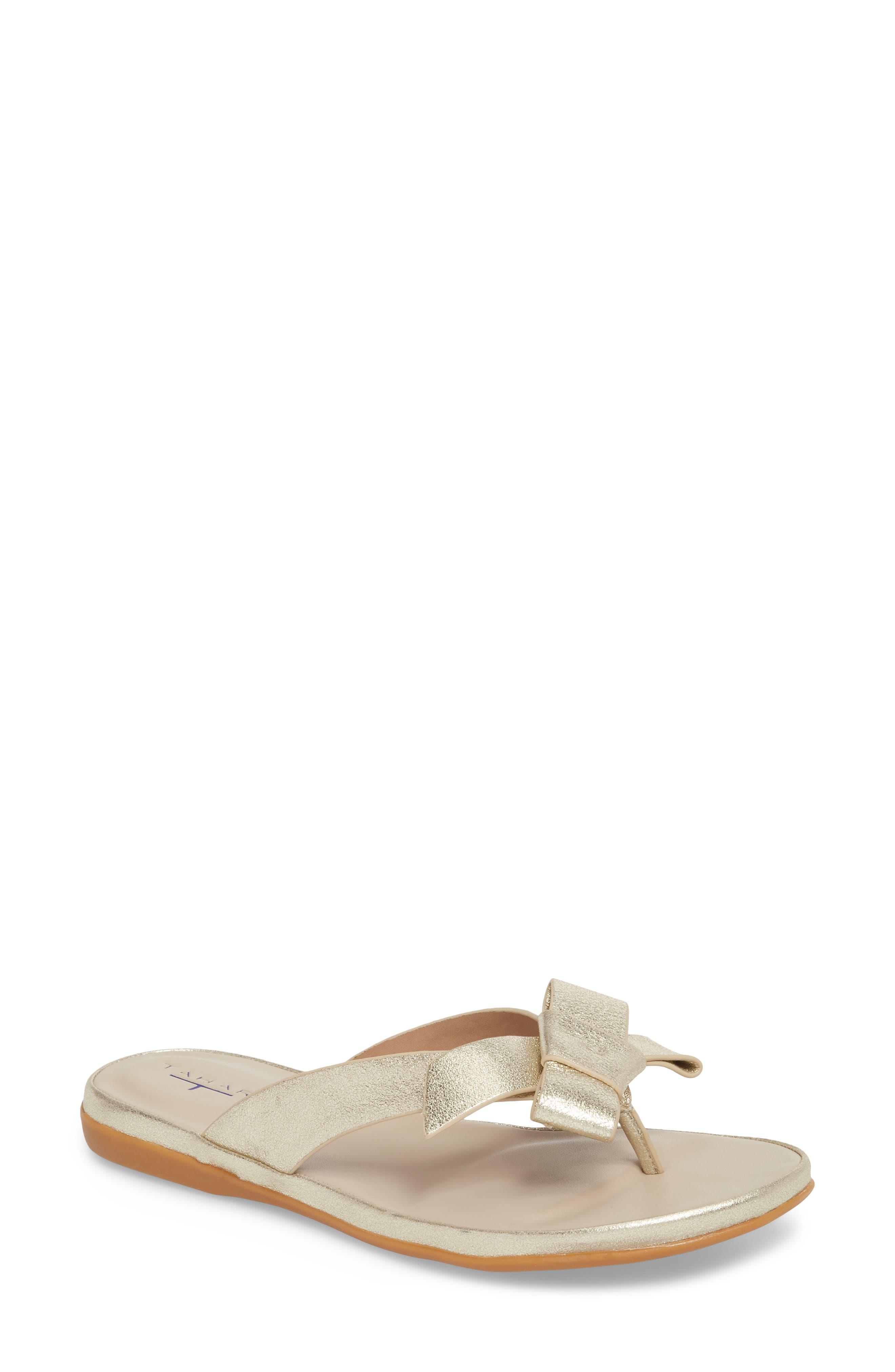 Aria Flip Flop,                         Main,                         color, Warm Gold Leather
