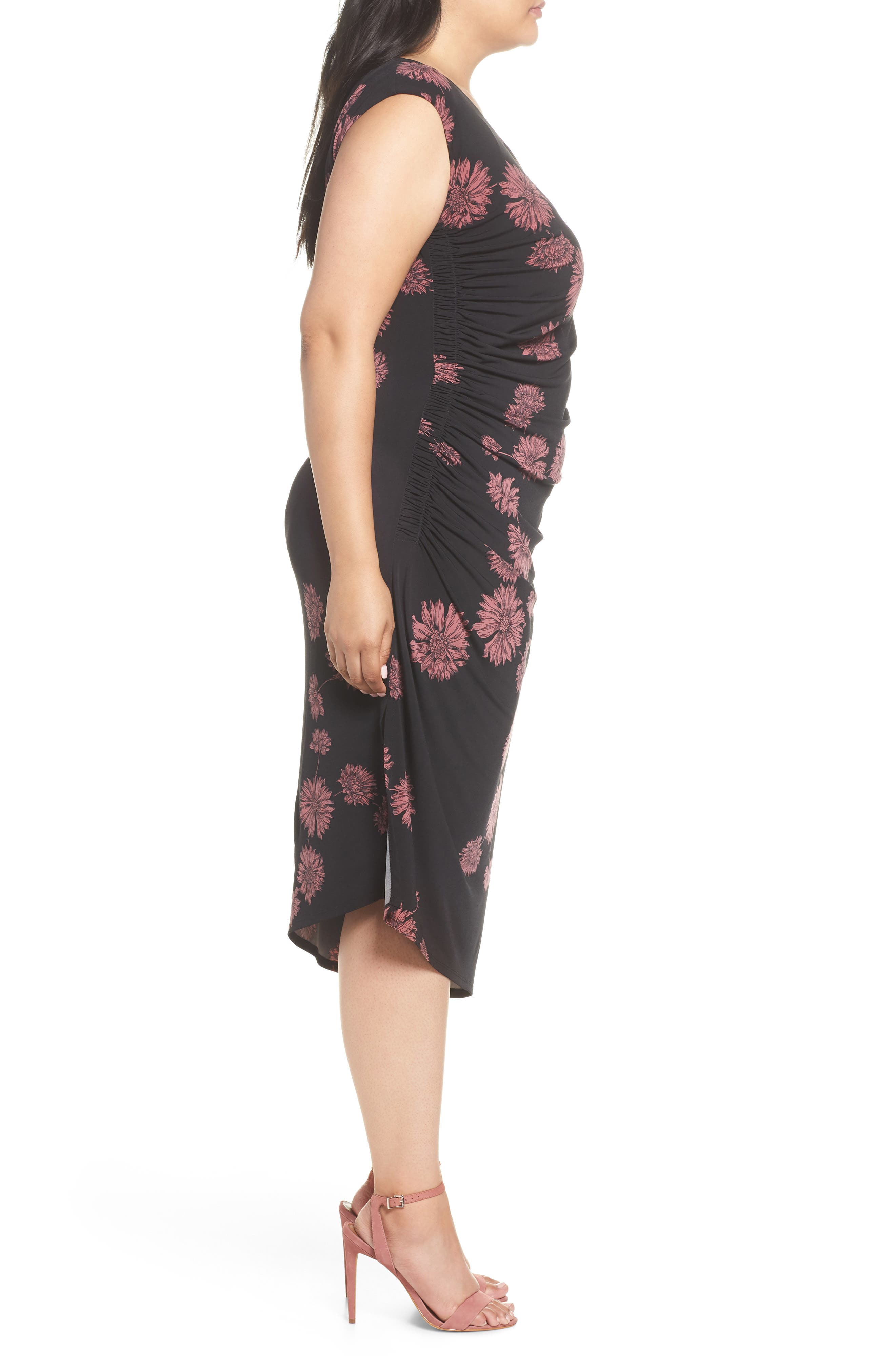 Chateau Floral Side Ruched Body-Con Dress,                             Alternate thumbnail 3, color,                             Rich Black