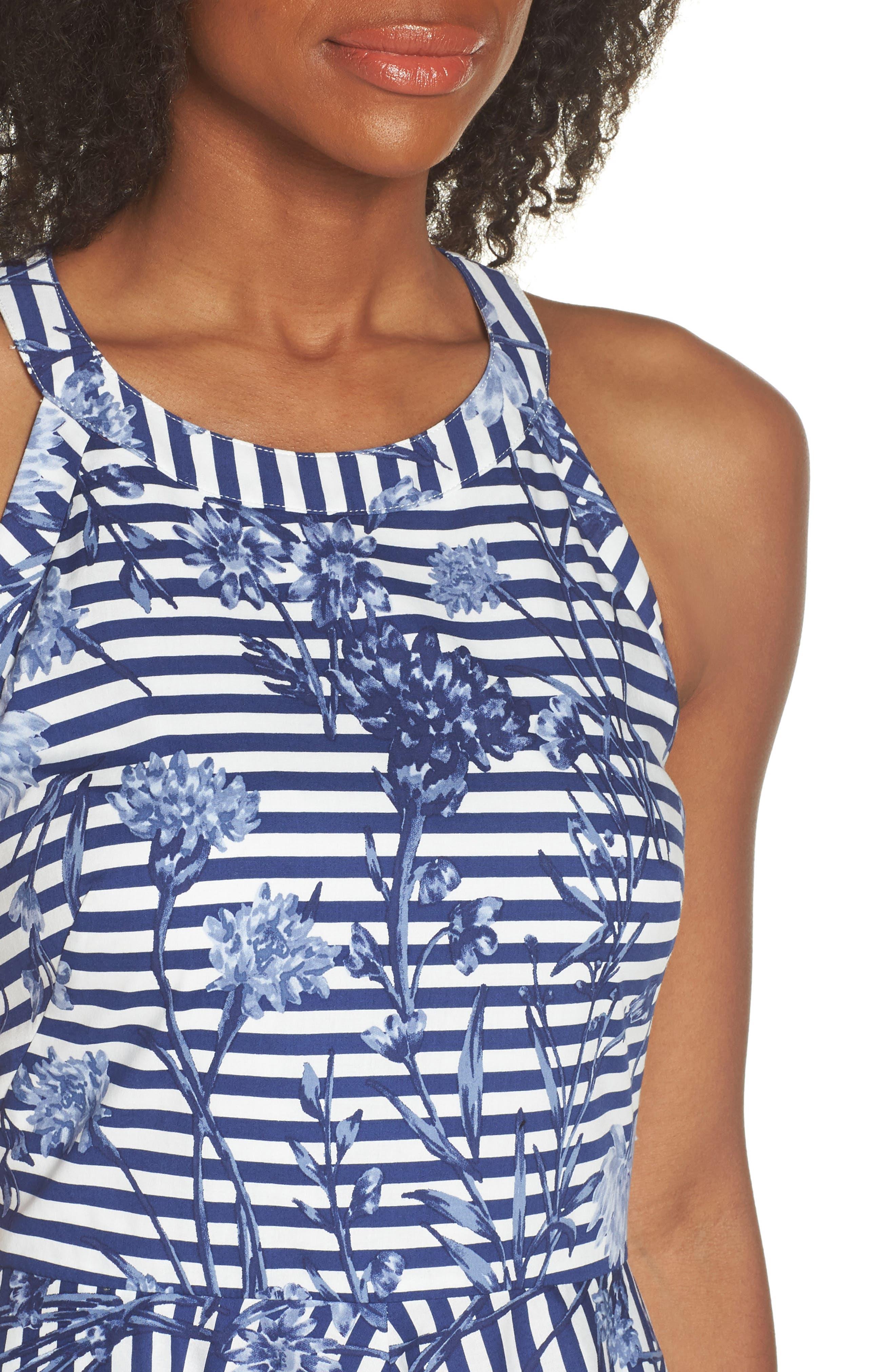 Floral Stripe Halter Fit & Flare Poplin Dress,                             Alternate thumbnail 4, color,                             Blue/ White
