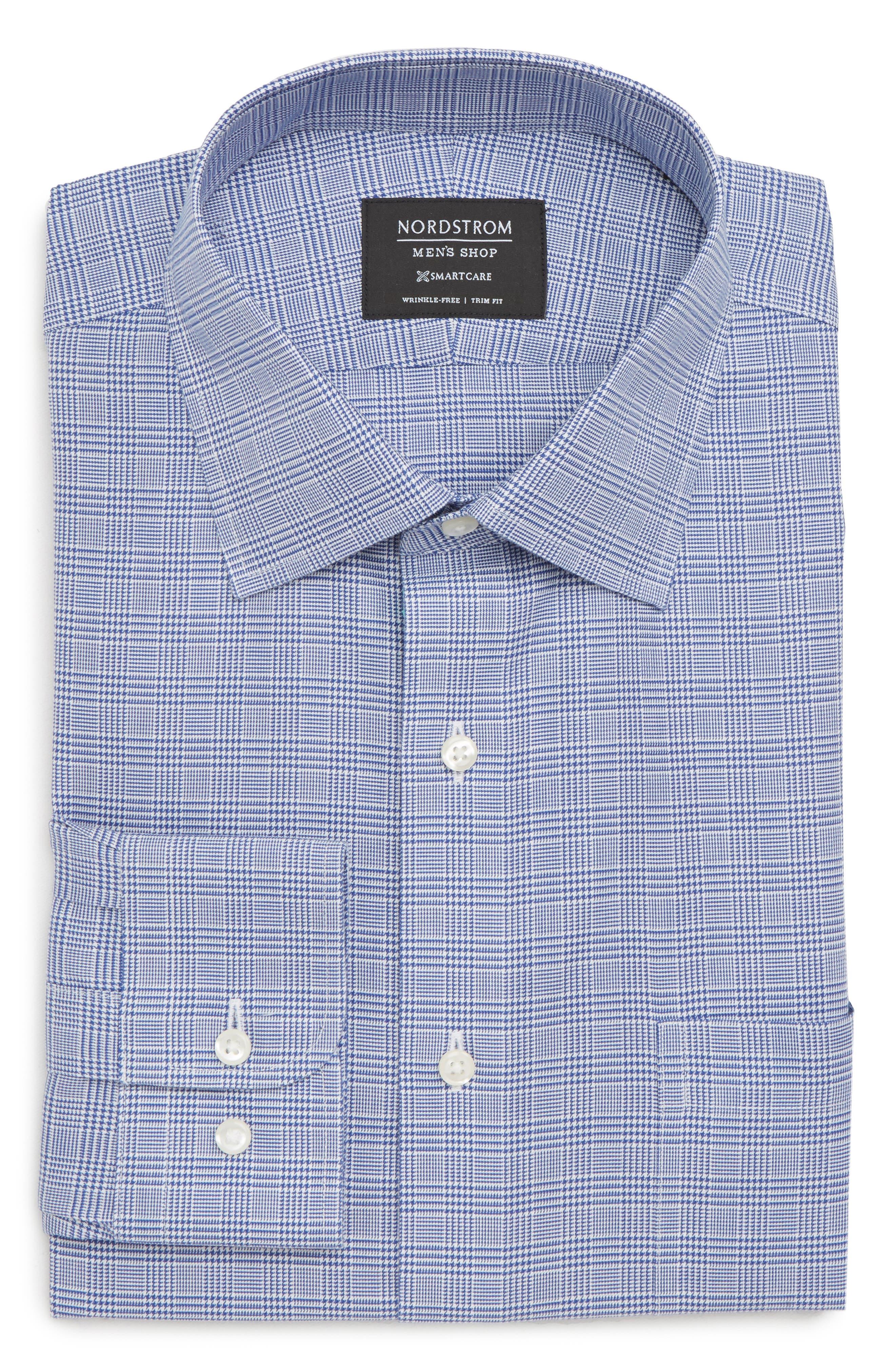 Smartcare<sup>™</sup> Trim Fit Herringbone Dress Shirt,                             Alternate thumbnail 6, color,                             Blue Marine